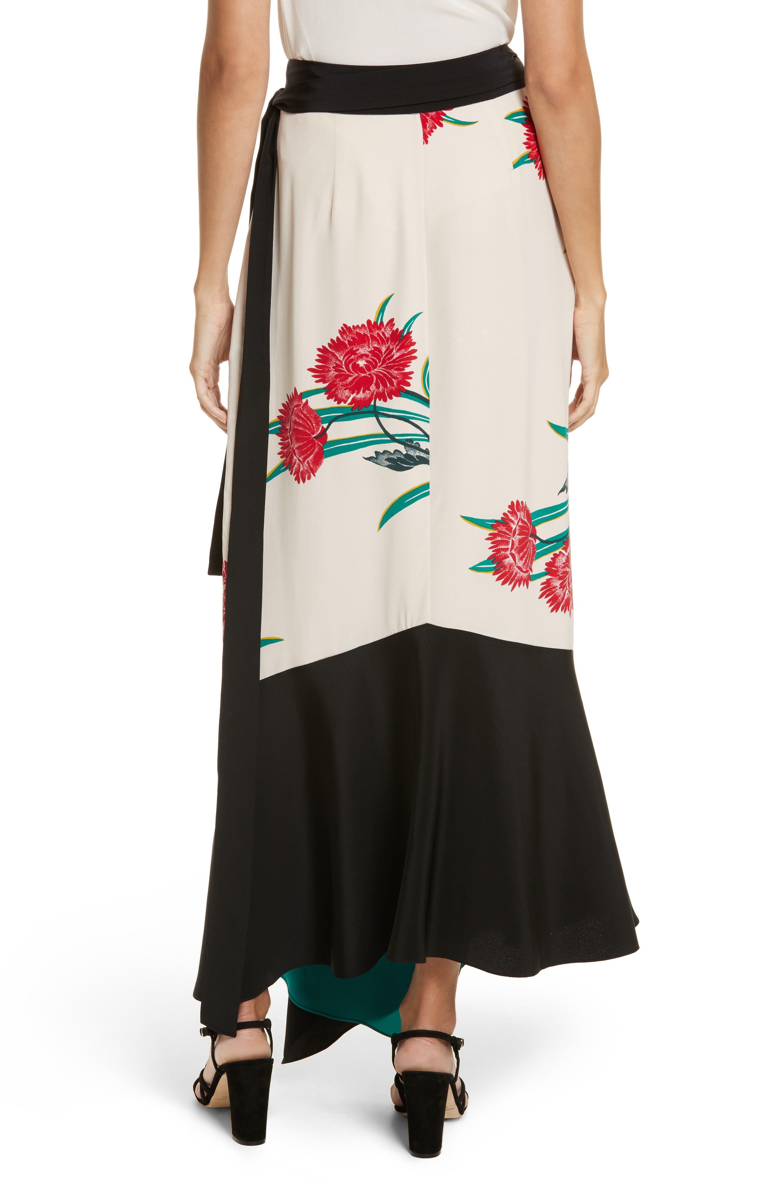 Draped Wrap Silk Midi Skirt,                             Alternate thumbnail 2, color,                             Farren Pearl/ Black/ Jade