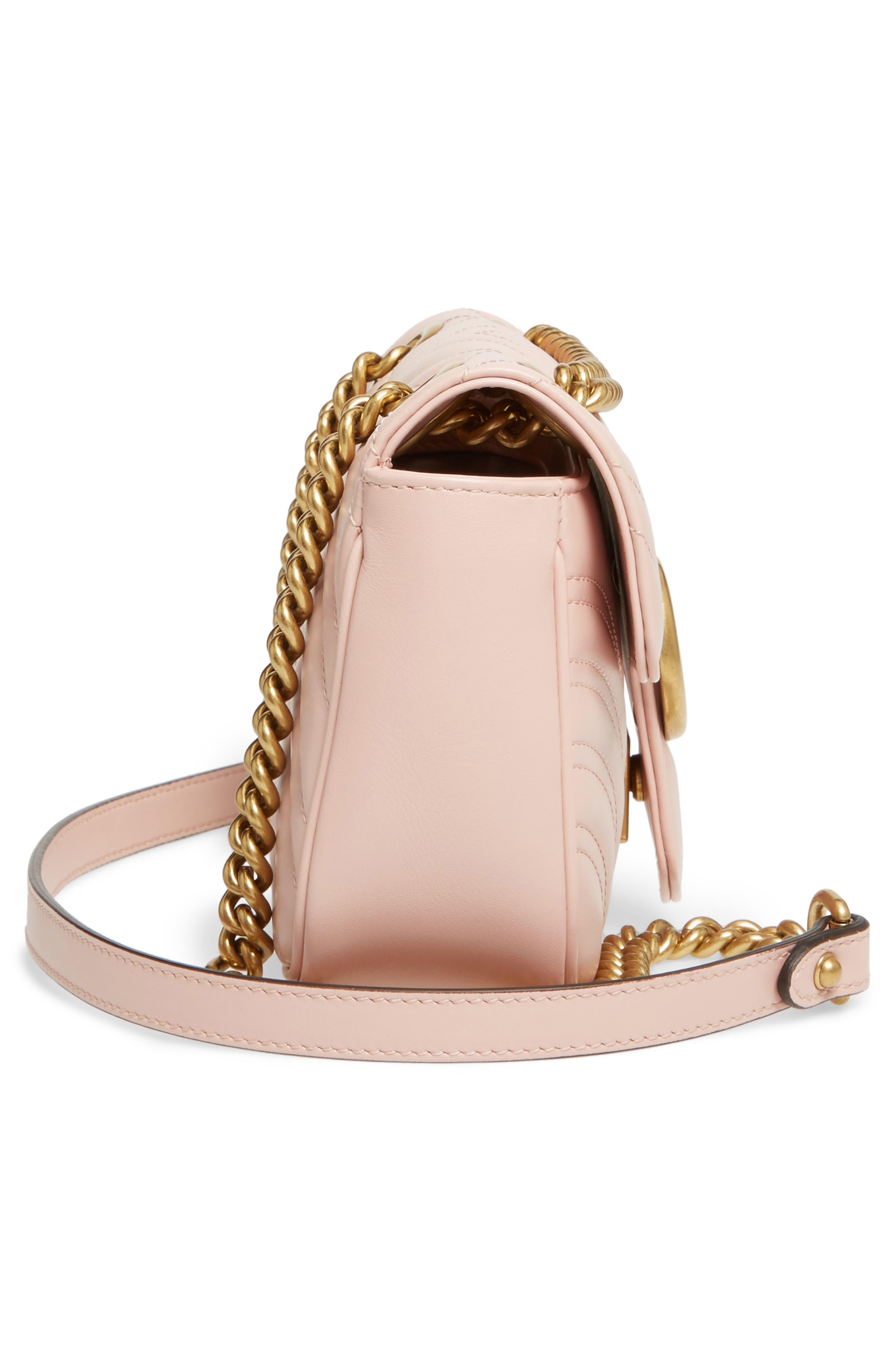 Mini GG Marmont 2.0 Matelassé Leather Shoulder Bag,                             Alternate thumbnail 4, color,                             Perfect Pink