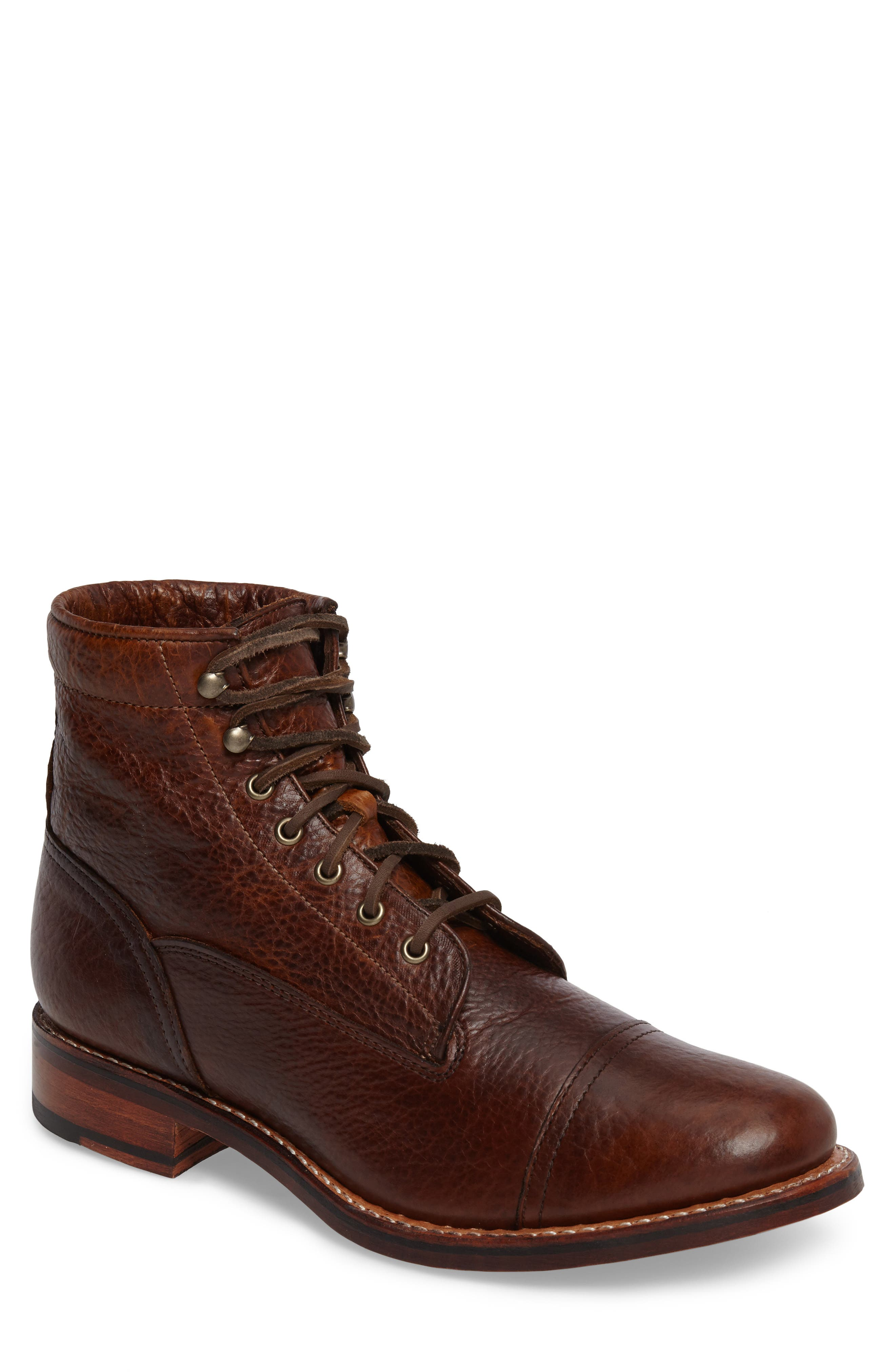 Ariat Highlands Cap Toe Boot,                             Main thumbnail 1, color,                             Whiskey Bourbon Leather