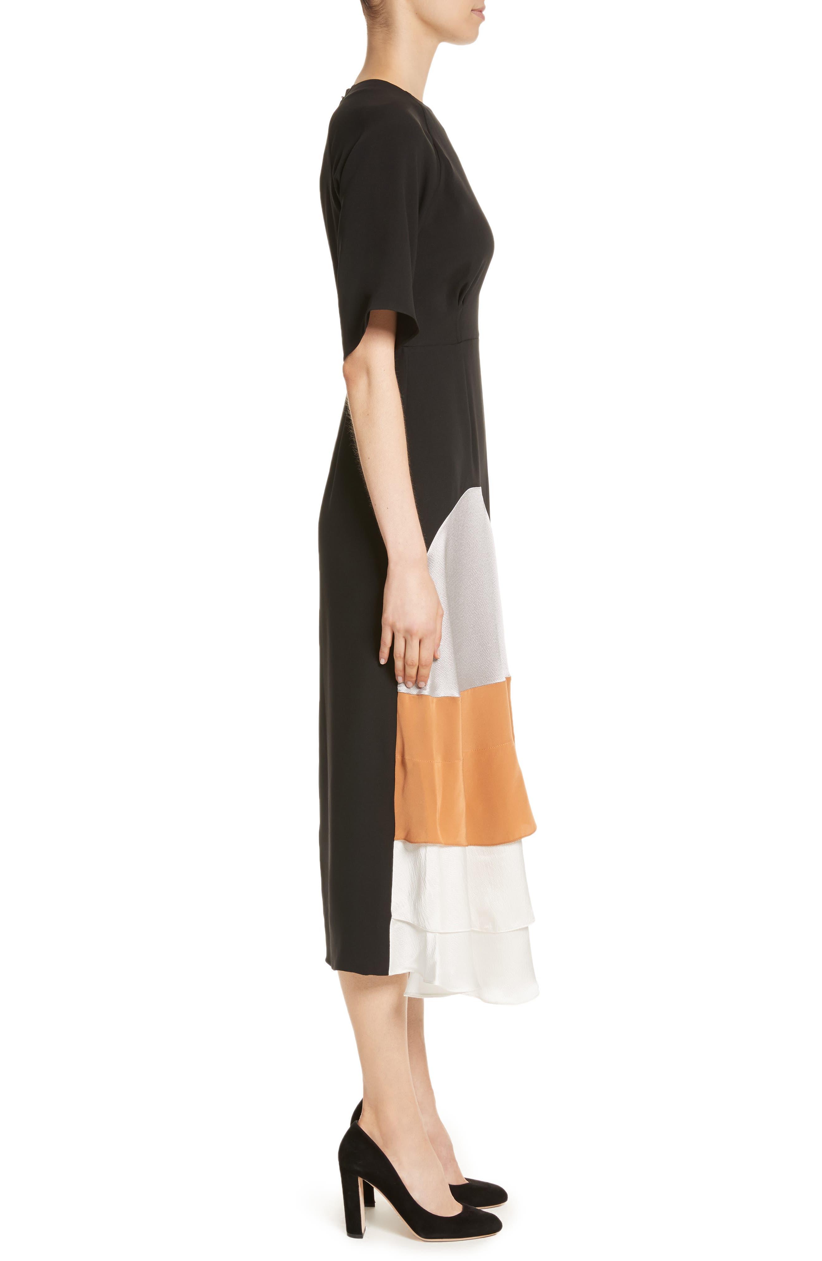 Rauma Silk Dress,                             Alternate thumbnail 3, color,                             Black/ Silver/ Sand/ Ivory