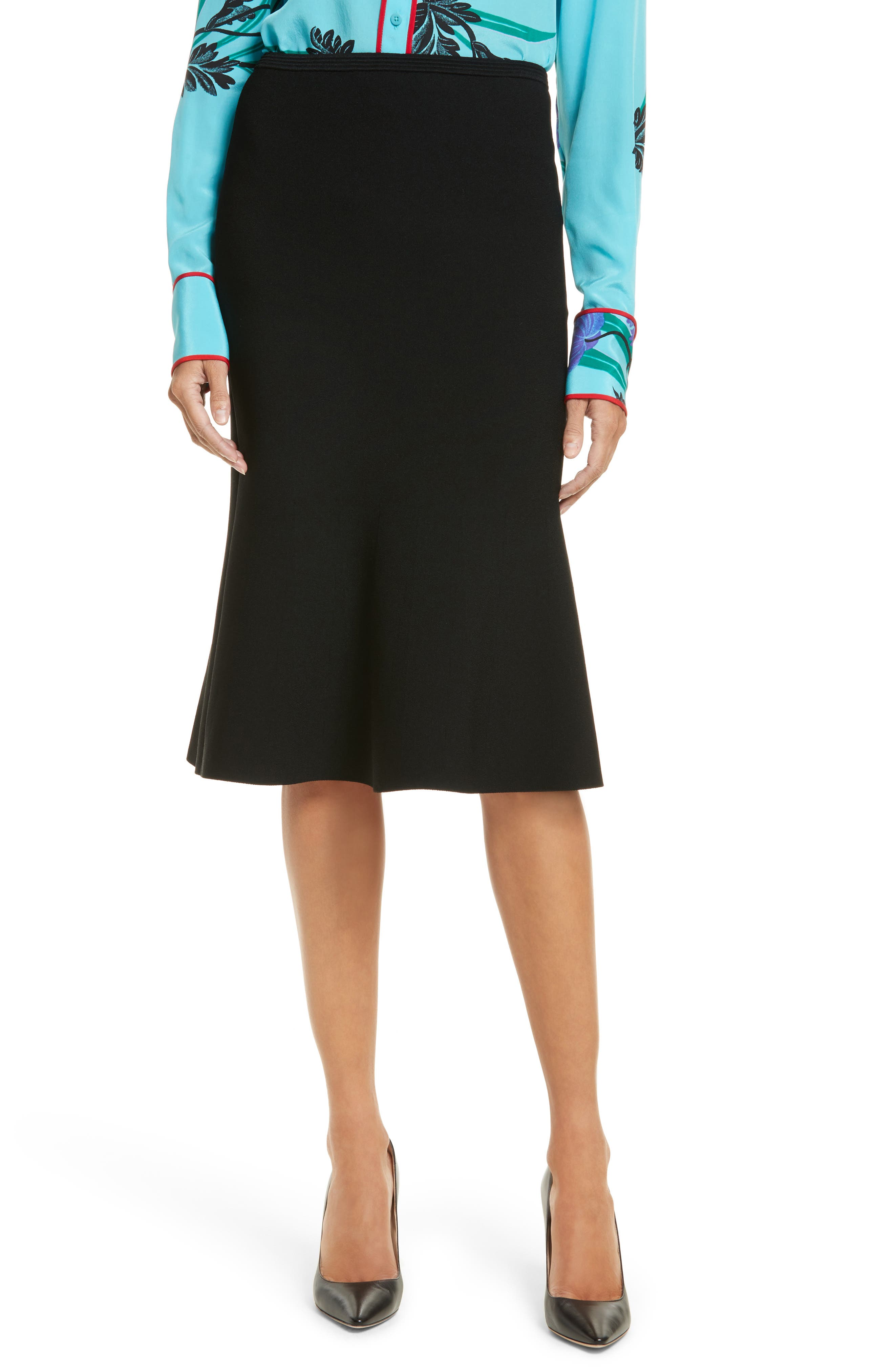 Flute Knit Skirt,                         Main,                         color, Black