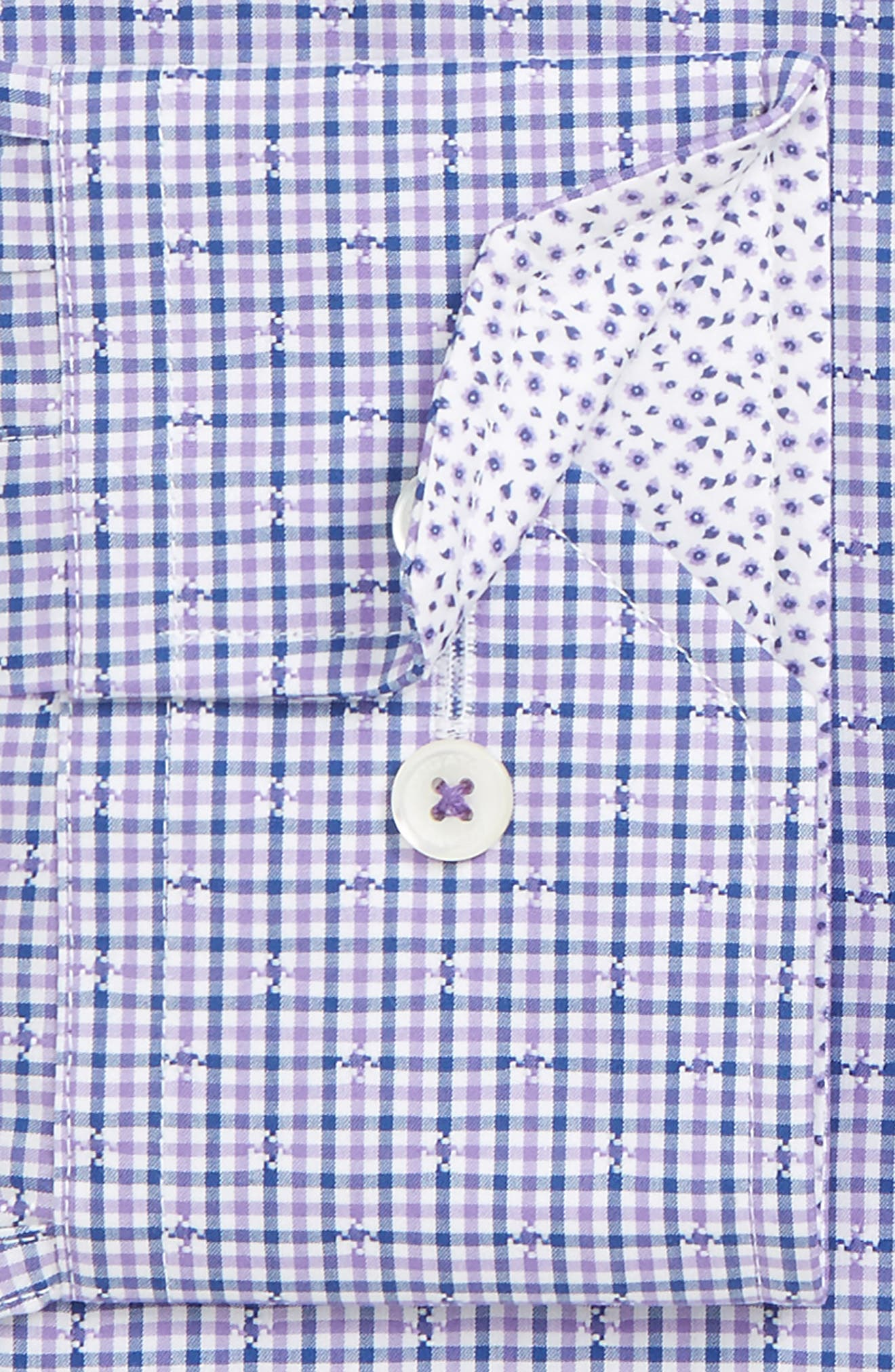 Trim Fit Check Dress Shirt,                             Alternate thumbnail 2, color,                             Orchid