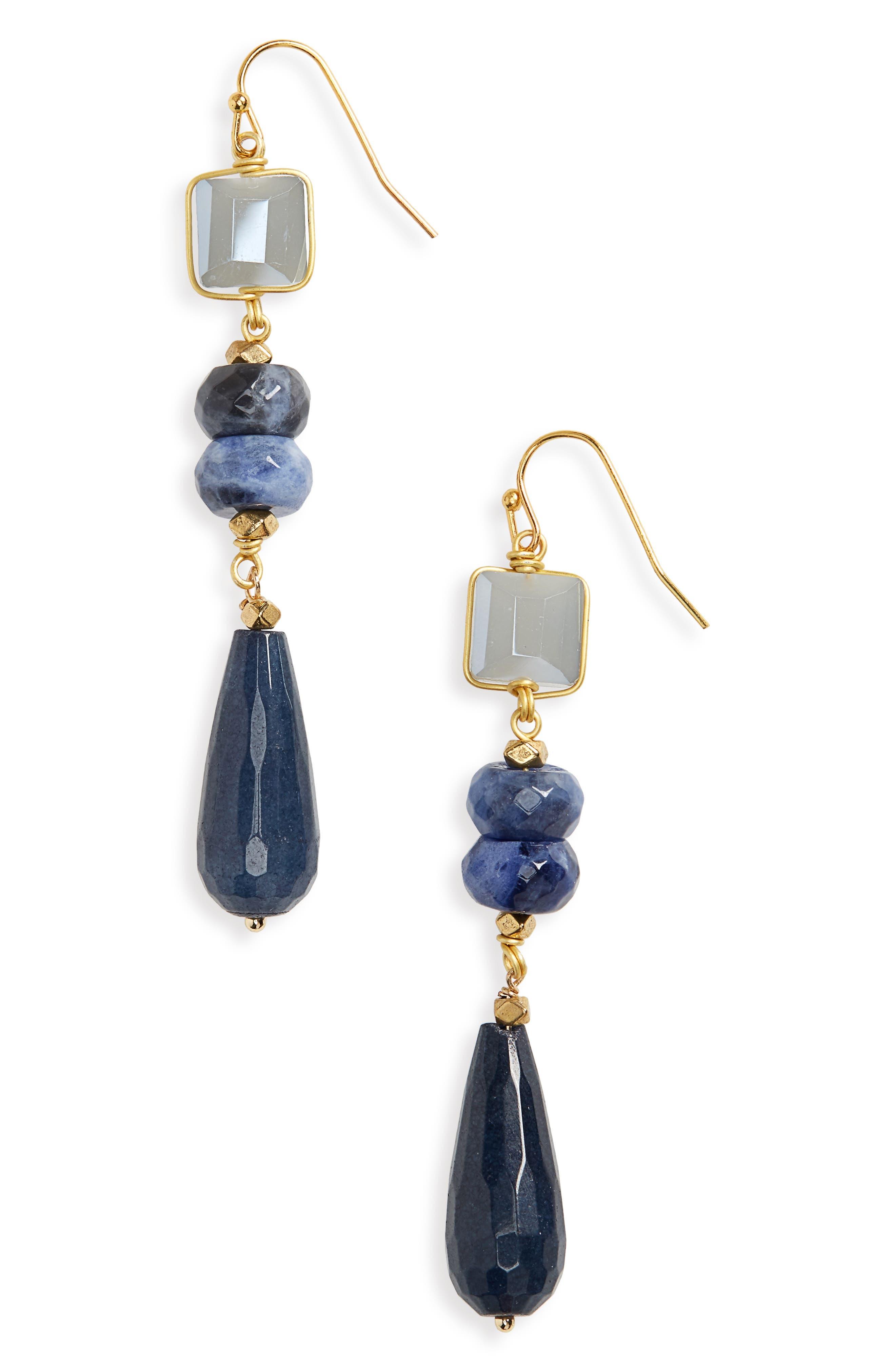 Stone Drop Earrings,                         Main,                         color, Blue