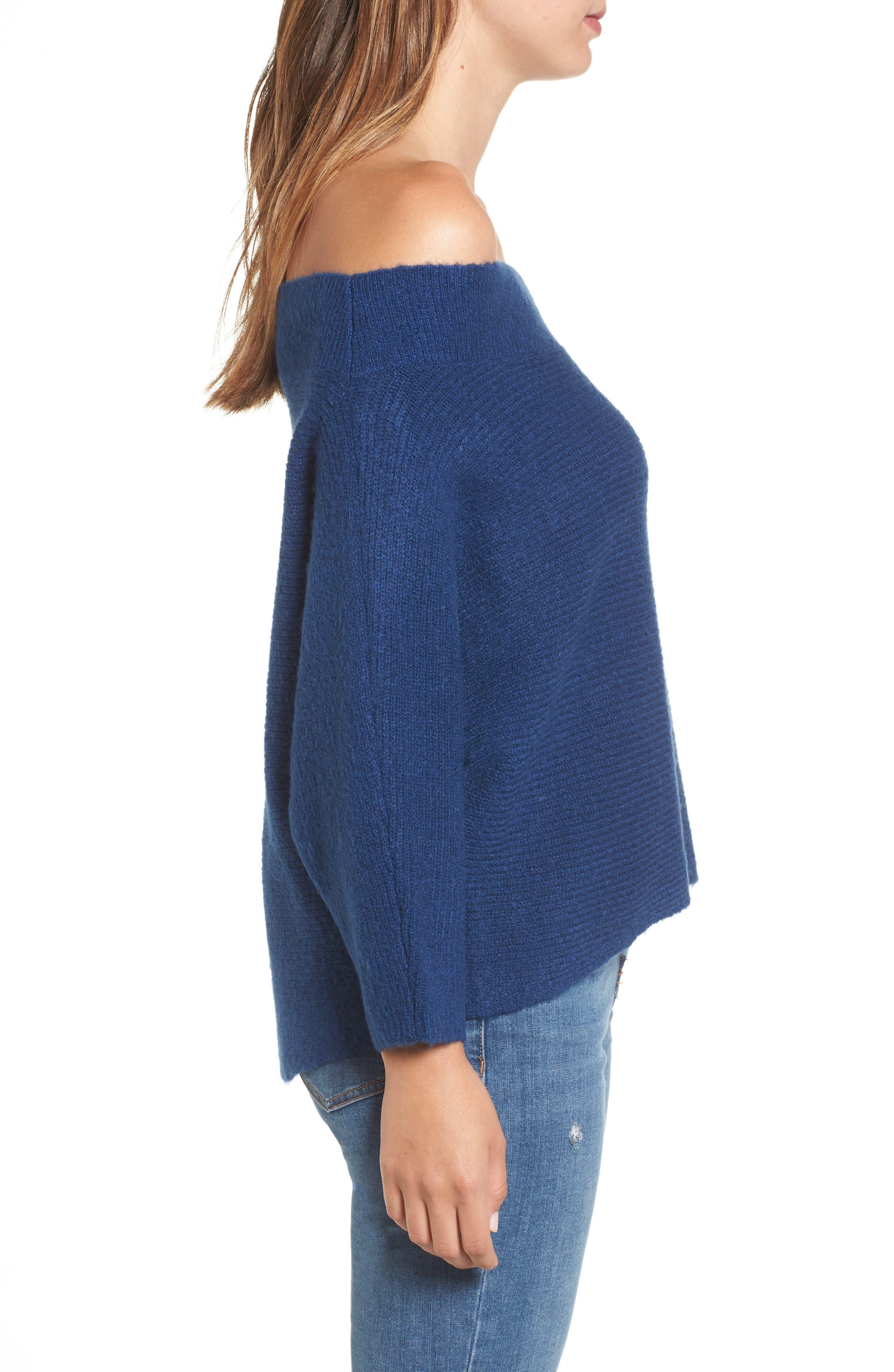 Dolman Sleeve Sweater,                             Alternate thumbnail 3, color,                             Blue Estate