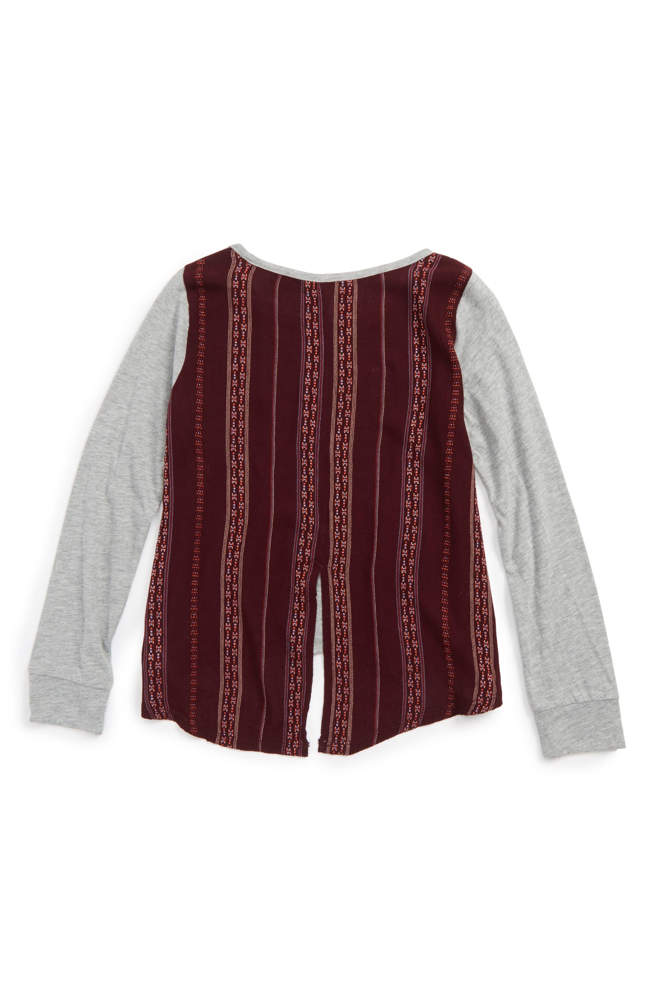 Embroidered Back Shirt,                             Alternate thumbnail 2, color,                             Grey Medium Heather
