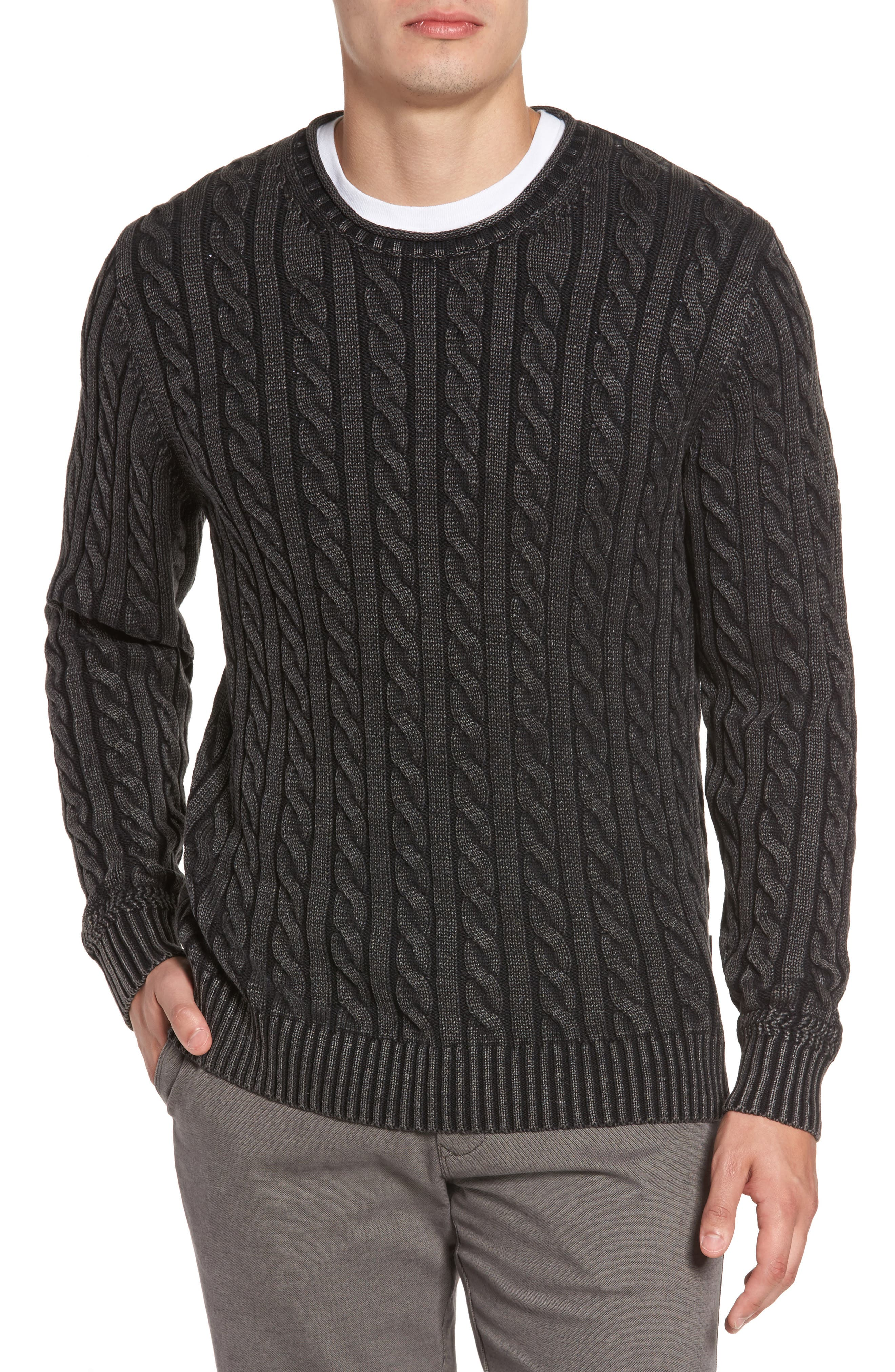 Landray Cable Knit Cotton Sweater,                         Main,                         color, Charcoal