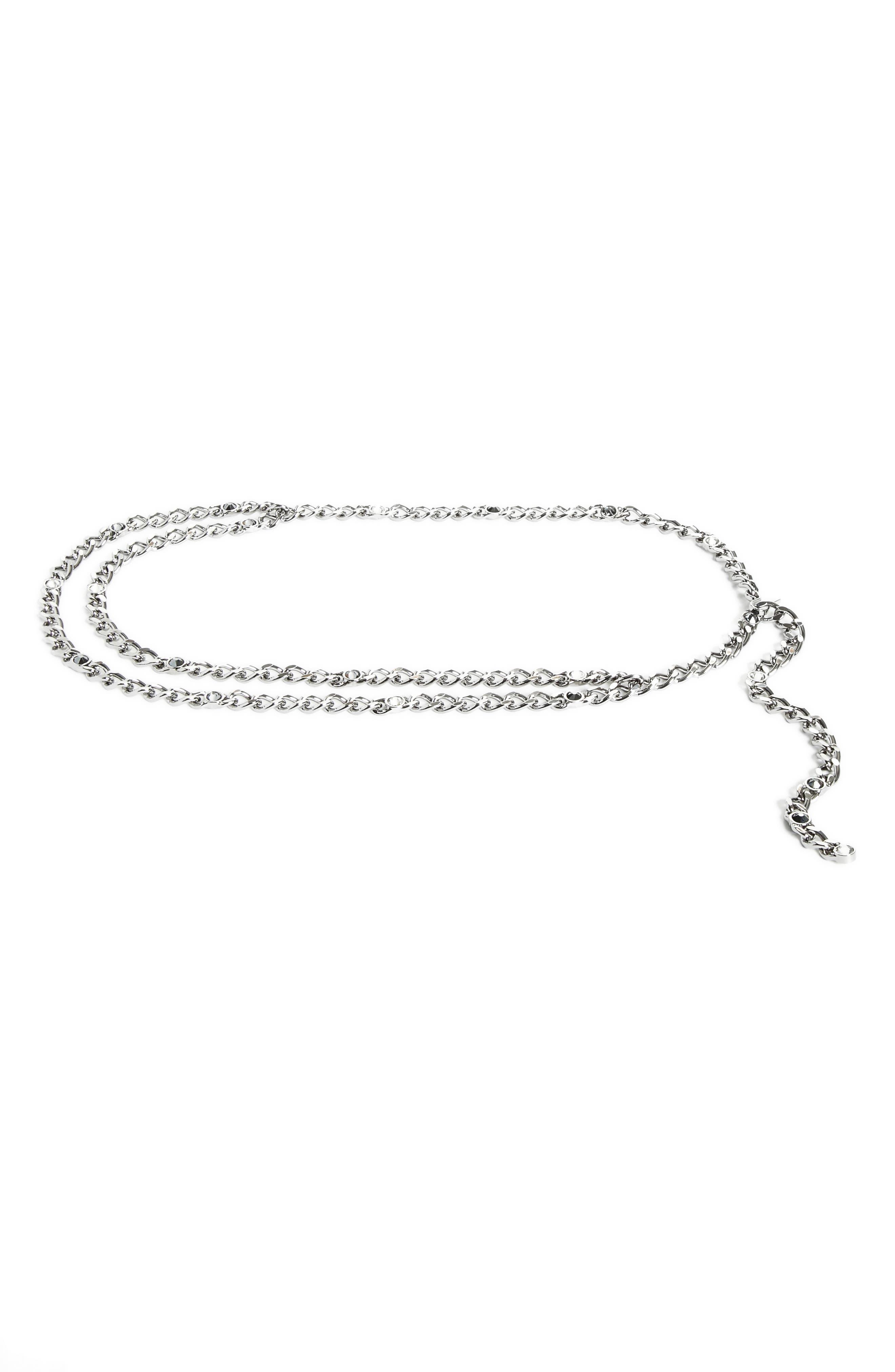 Swarovski Crystal Chain Belt,                             Main thumbnail 1, color,                             Ruthenium Jet Hermatite