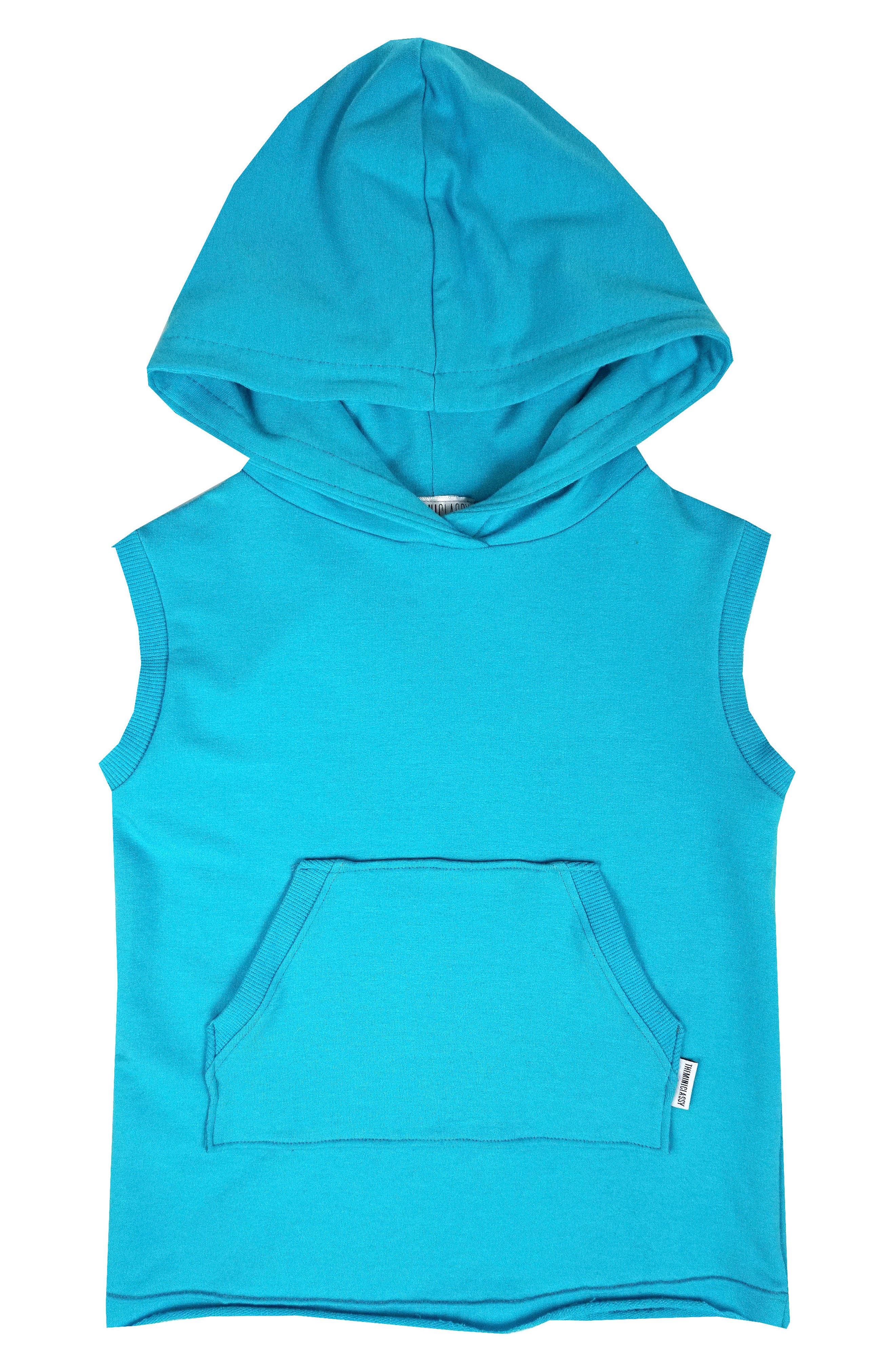 Sleeveless Pullover Hoodie,                         Main,                         color, Electric Blue