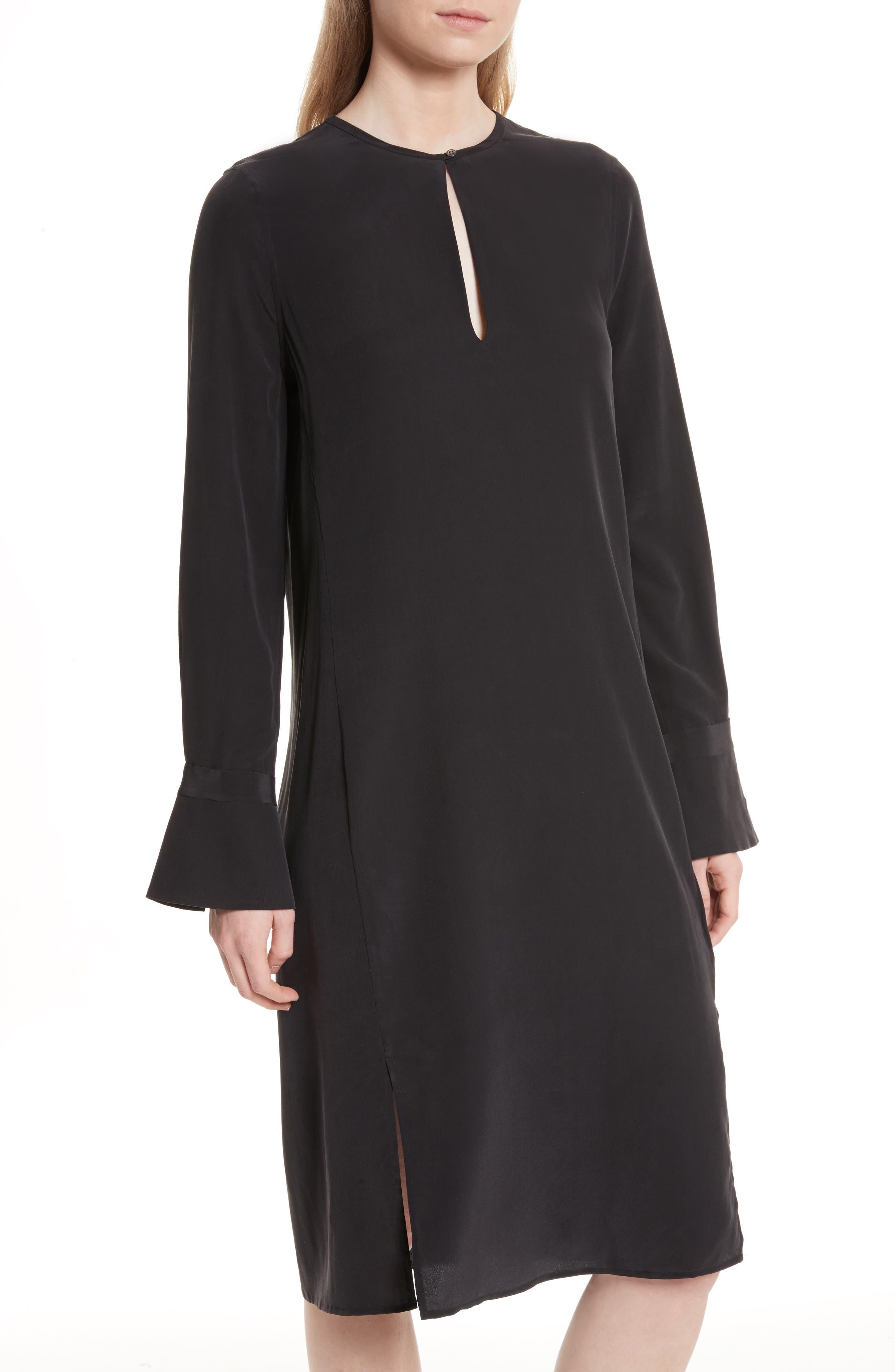 Granger Silk Dress,                             Alternate thumbnail 4, color,                             True Black