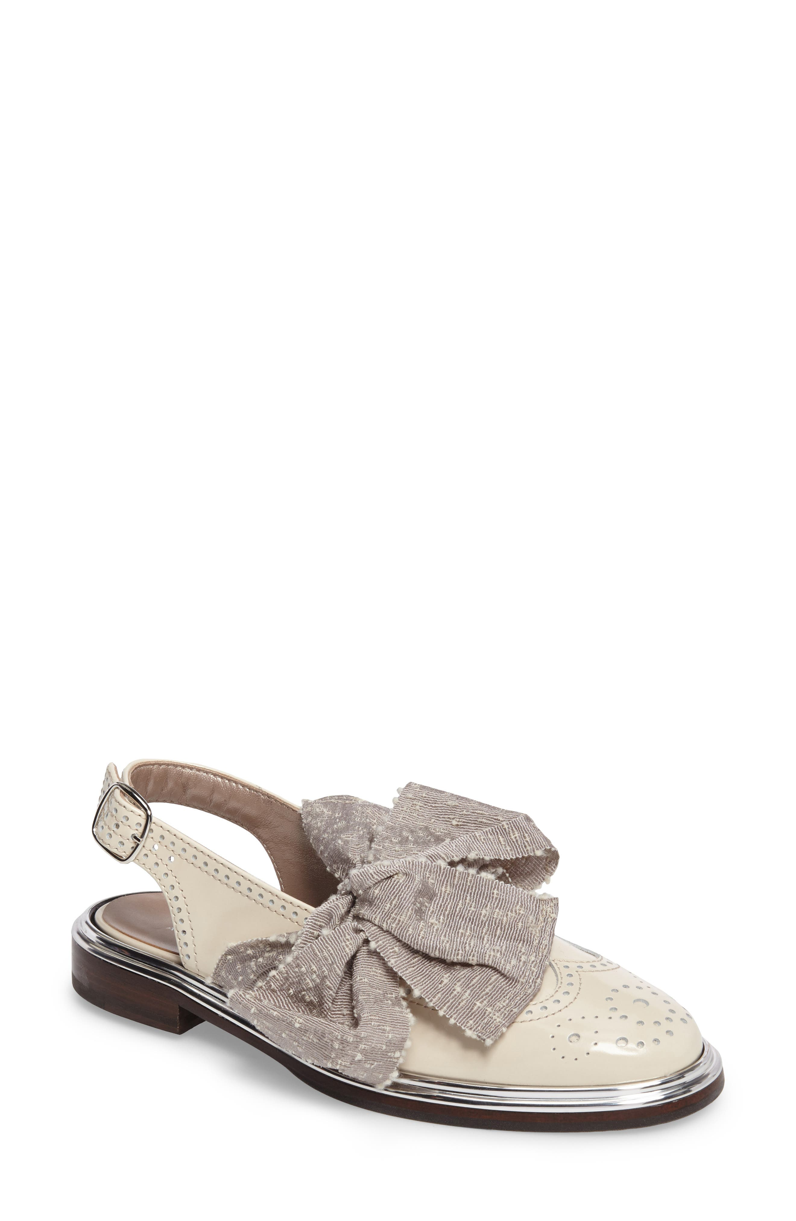 Bow Slingback Flat,                         Main,                         color, Ice Leather