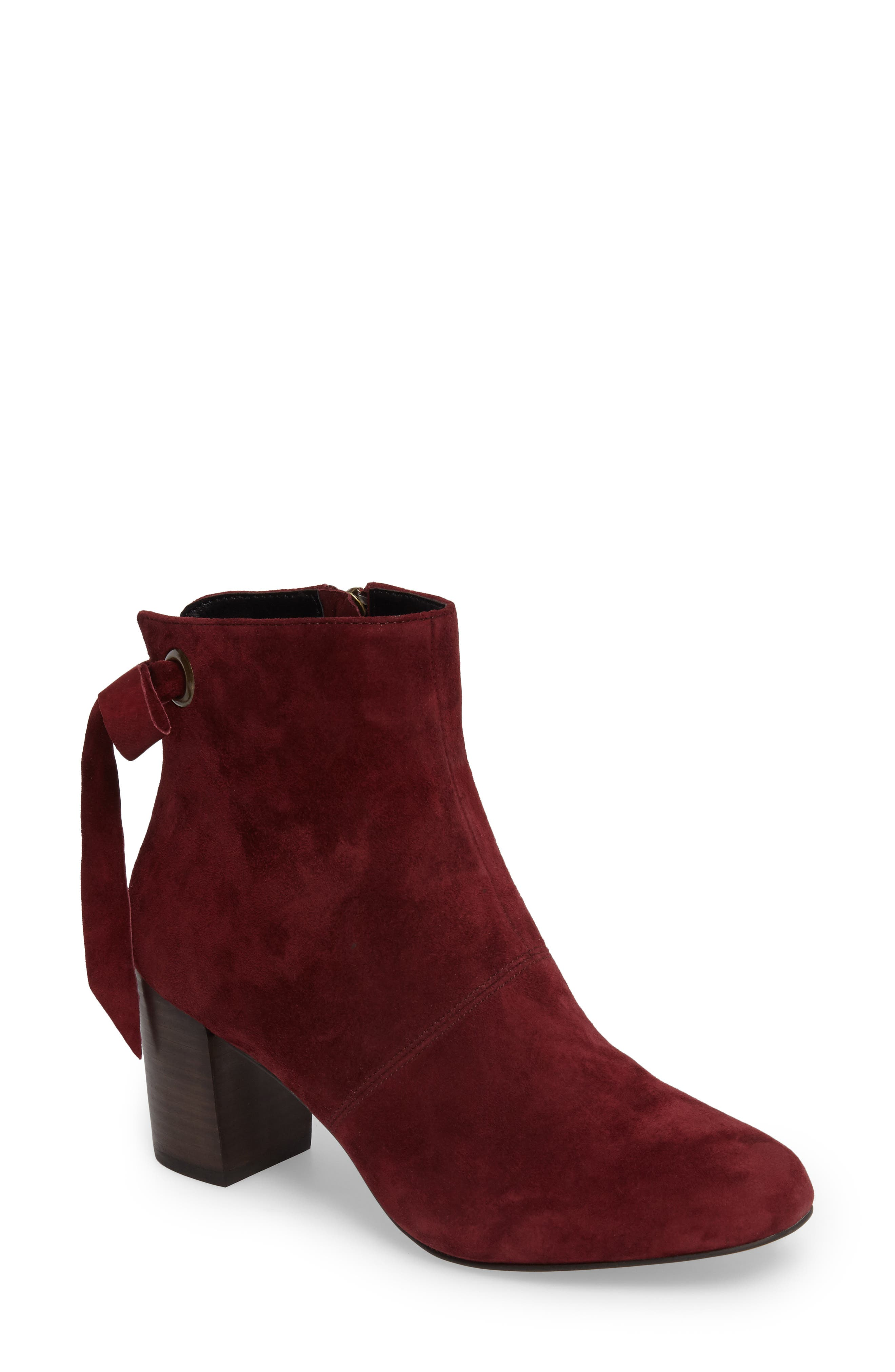 Roxbury Bootie,                             Main thumbnail 1, color,                             Rumba Red Suede