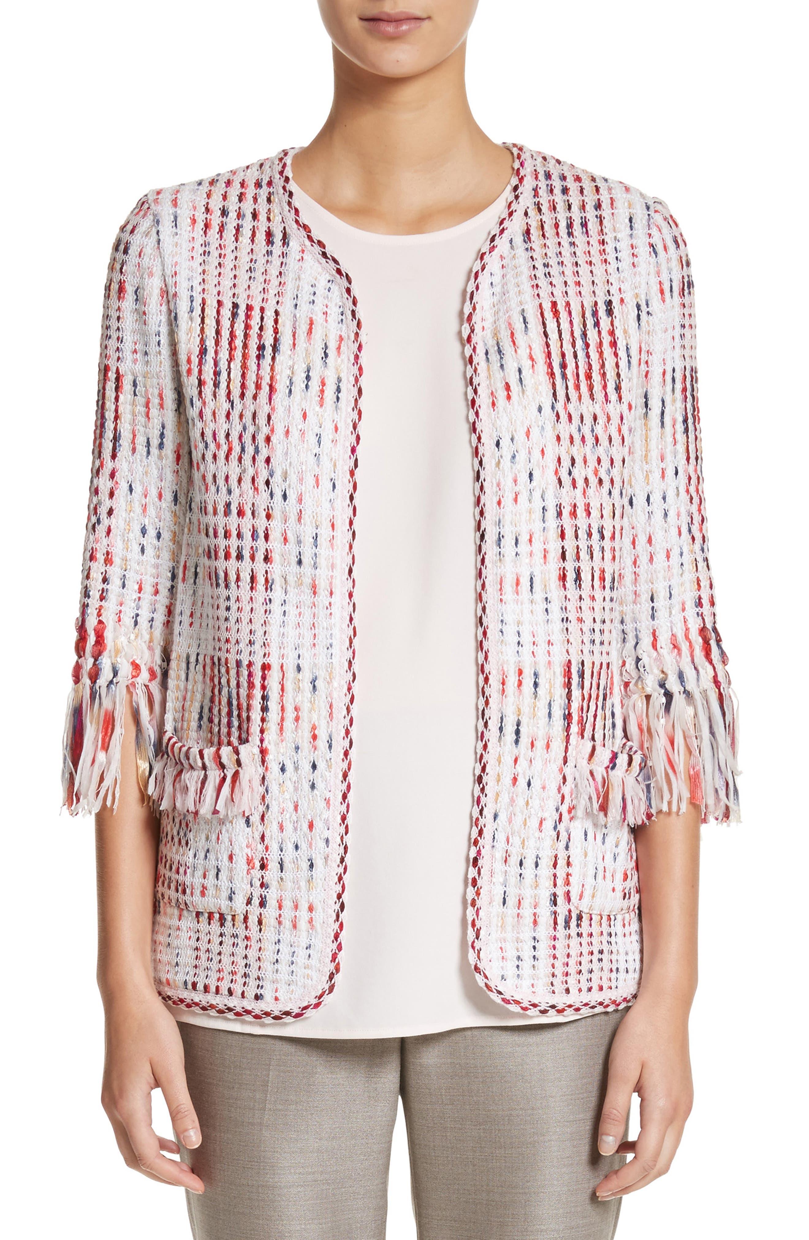 Ribbon Macro Plaid Cardigan,                         Main,                         color, Blush Multi