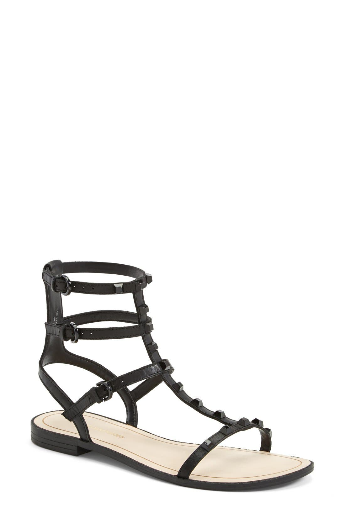 'Georgina' Studded Leather Sandal,                             Main thumbnail 1, color,                             Black