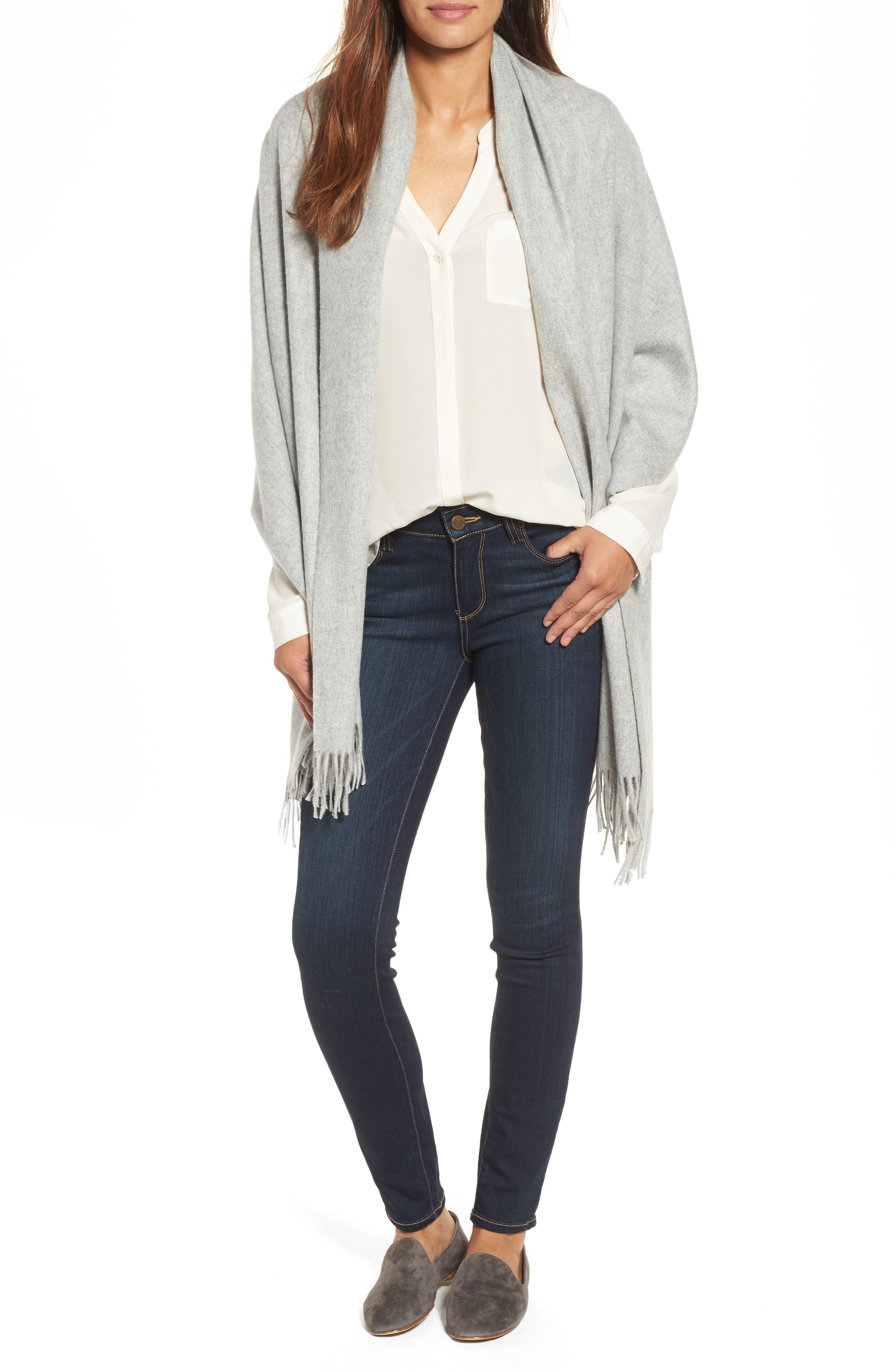 Oversize Cashmere Wrap,                             Main thumbnail 1, color,                             Grey Soft Heather