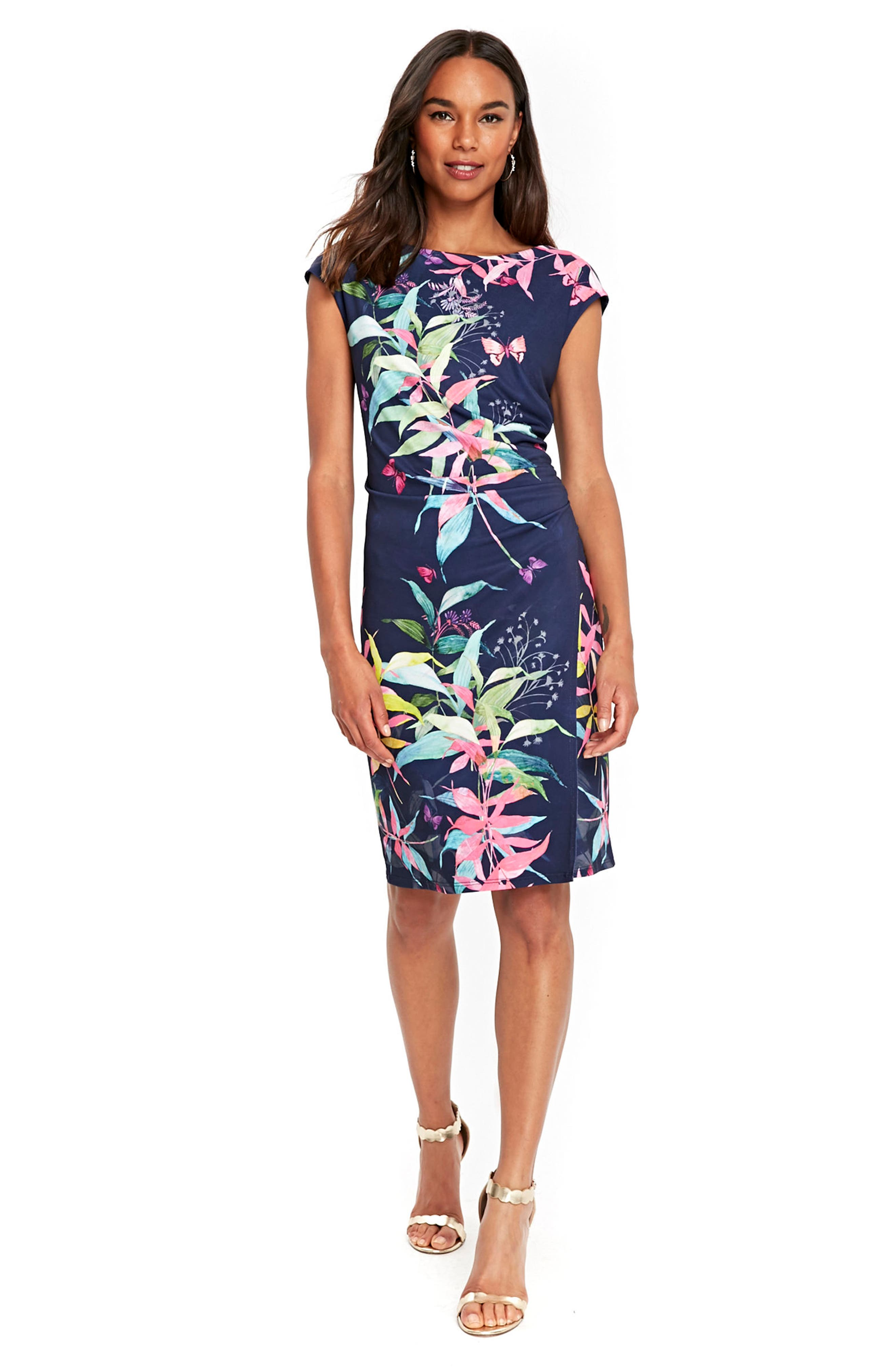 Midnight Blossom Faux Wrap Dress,                             Alternate thumbnail 2, color,                             Ink