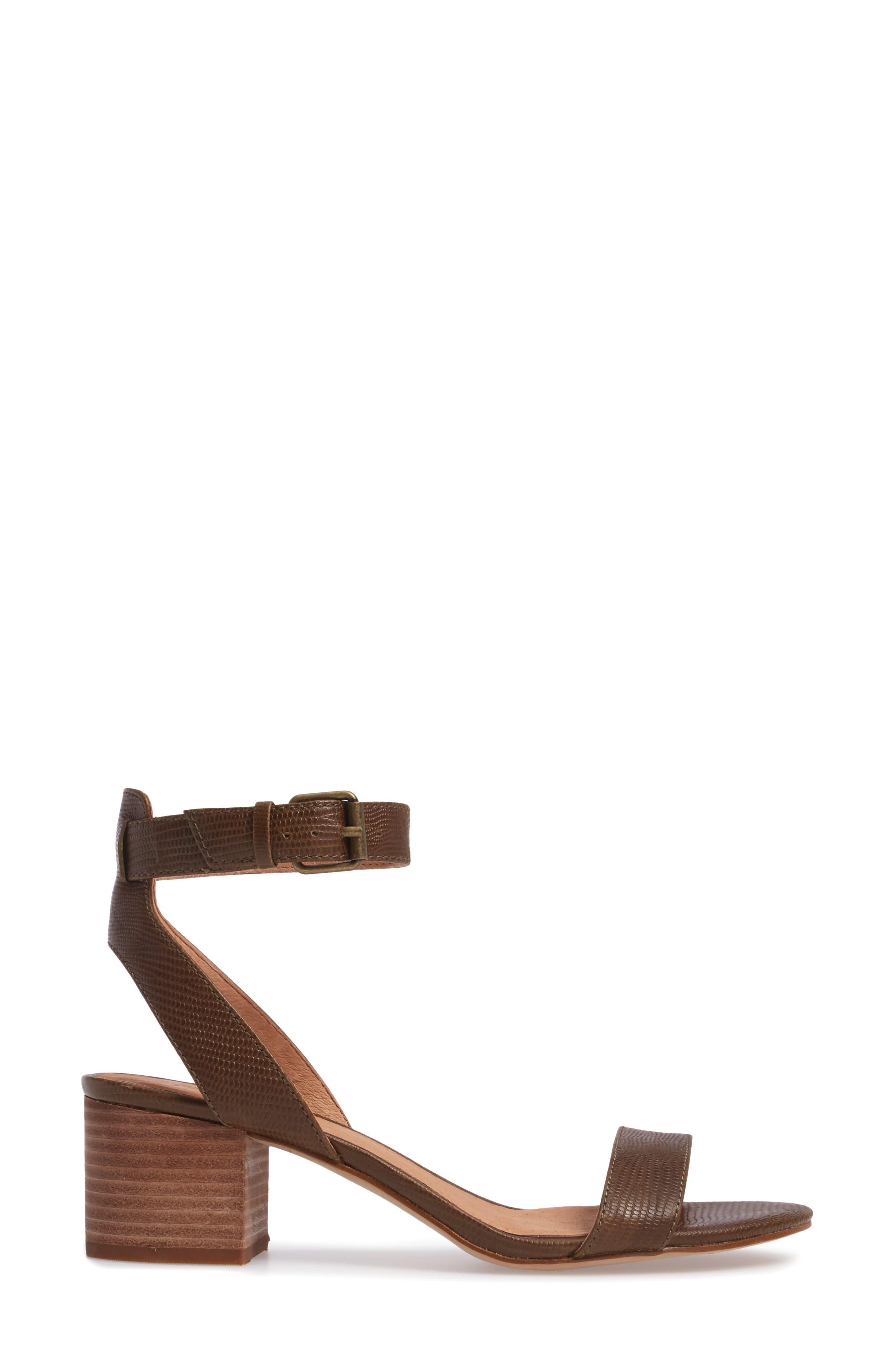 Alice Embossed Ankle Wrap Sandal,                             Alternate thumbnail 3, color,                             Safari Khaki Leather