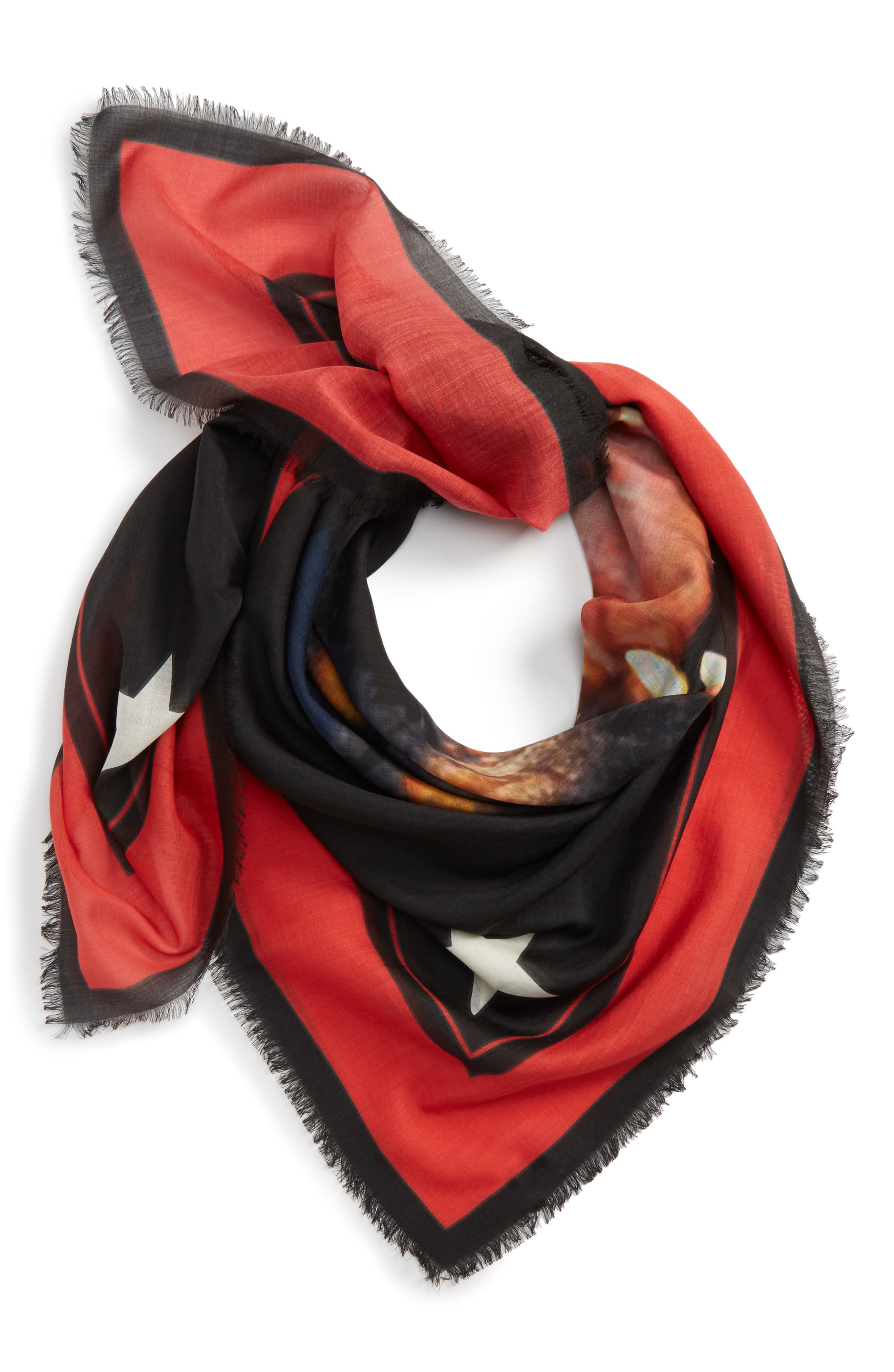 'Rottweiler' Silk Blend Scarf,                             Alternate thumbnail 2, color,                             Red/ Black