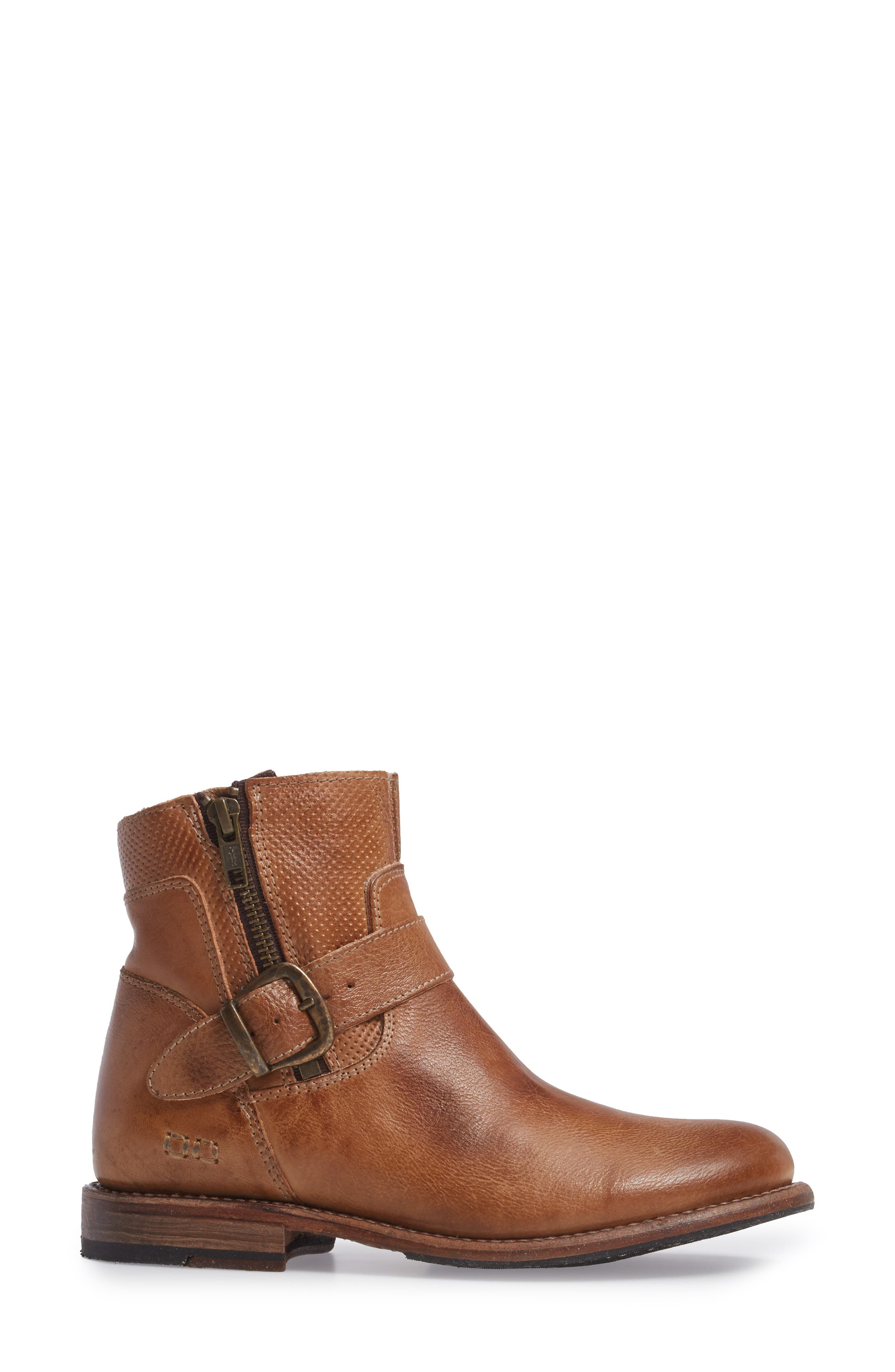 Becca Buckle Boot,                             Alternate thumbnail 3, color,                             Tan Rustic Leather