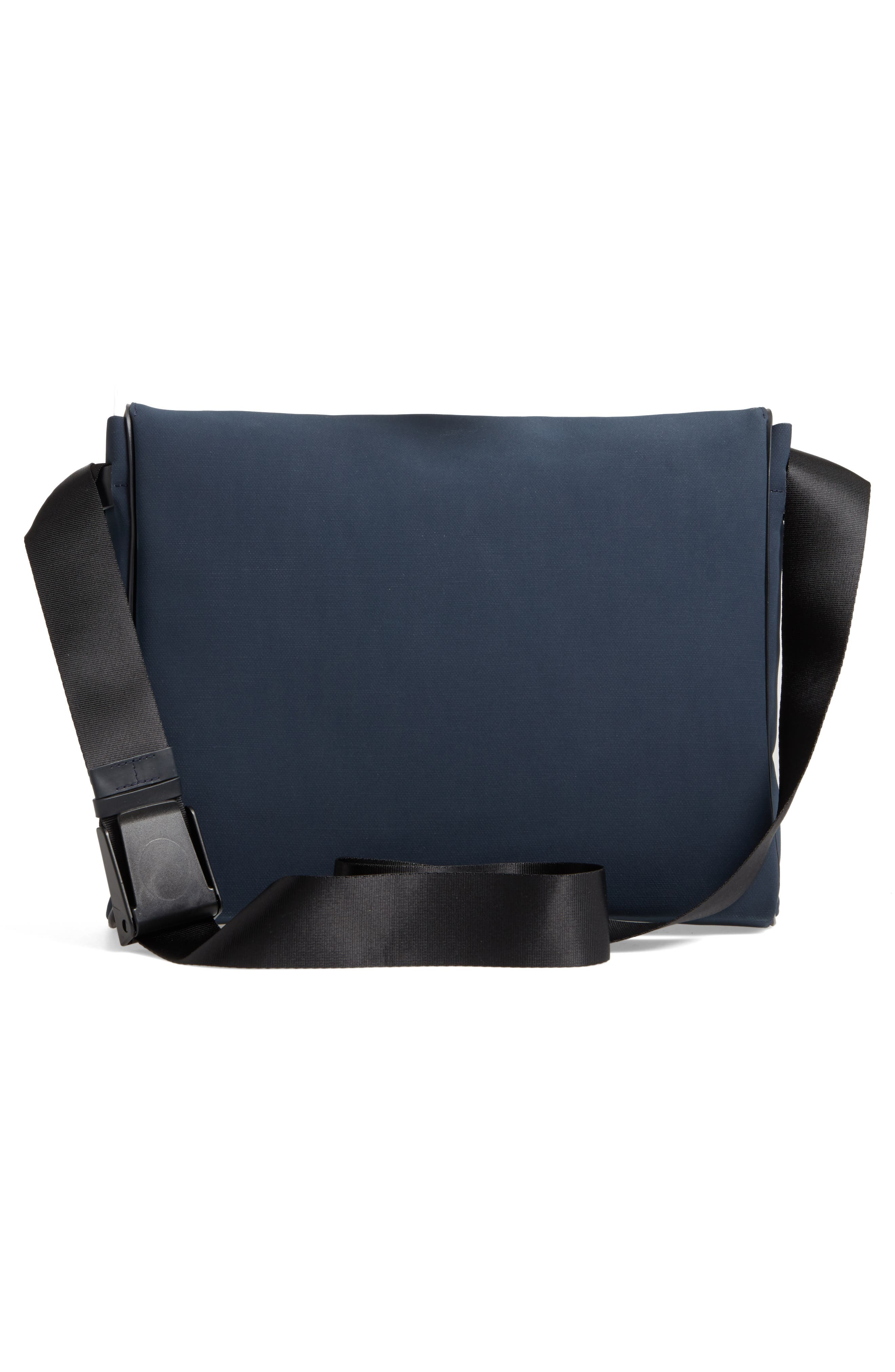 Canvas Messenger Bag,                             Alternate thumbnail 3, color,                             Navy Canvas/ Navy Leather