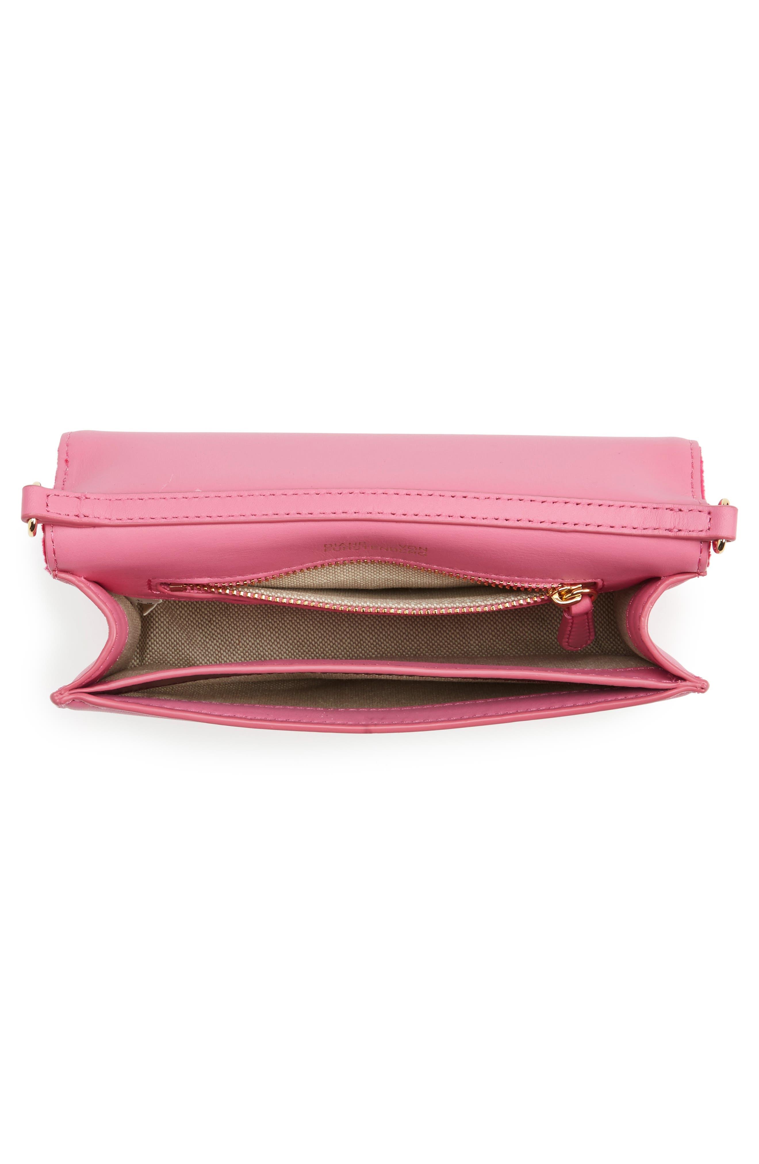 Soirée Velvet Convertible Crossbody Bag,                             Alternate thumbnail 4, color,                             Pink Azalea