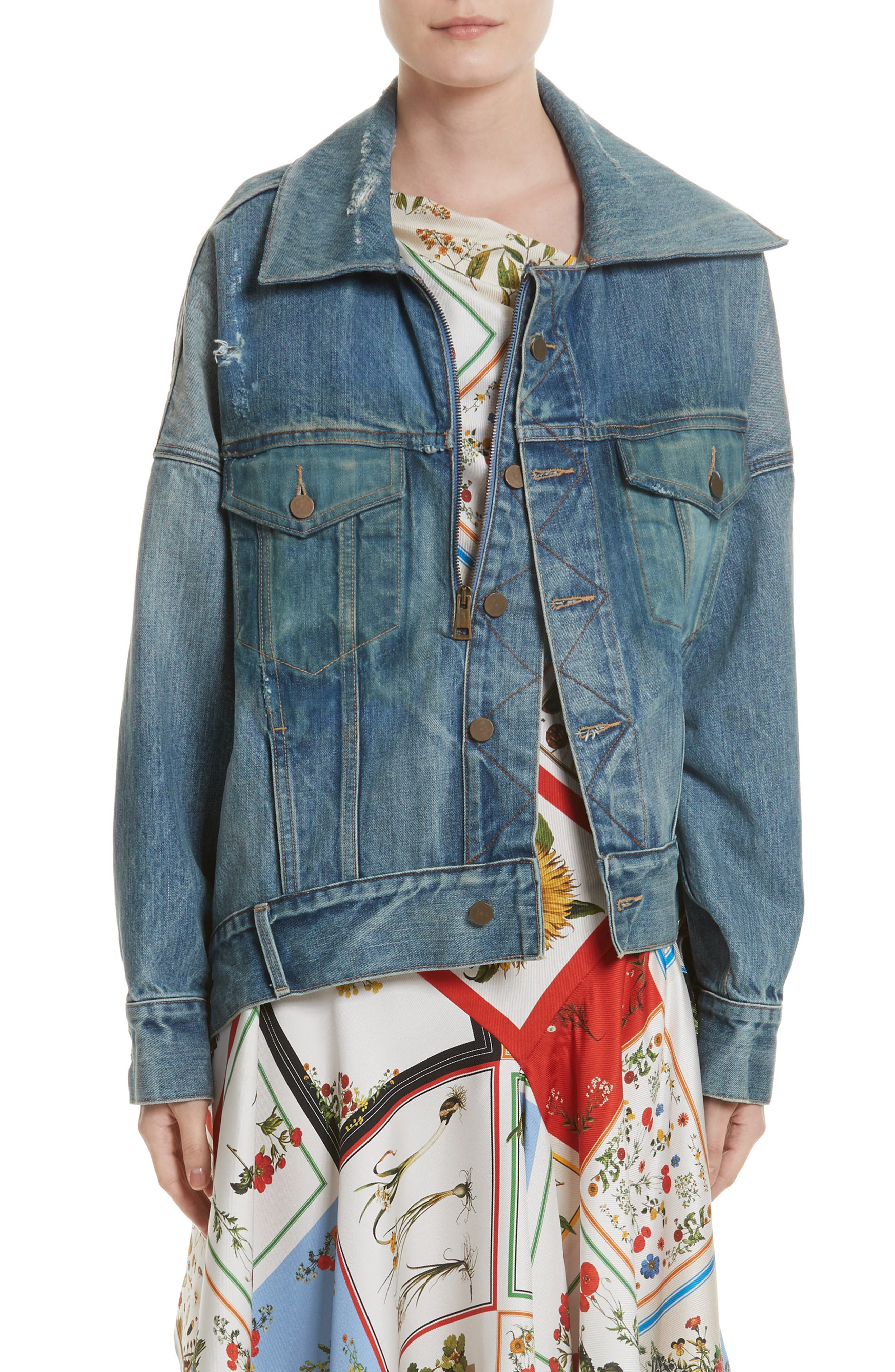 Cocoon Denim Jacket,                             Main thumbnail 1, color,                             Blue