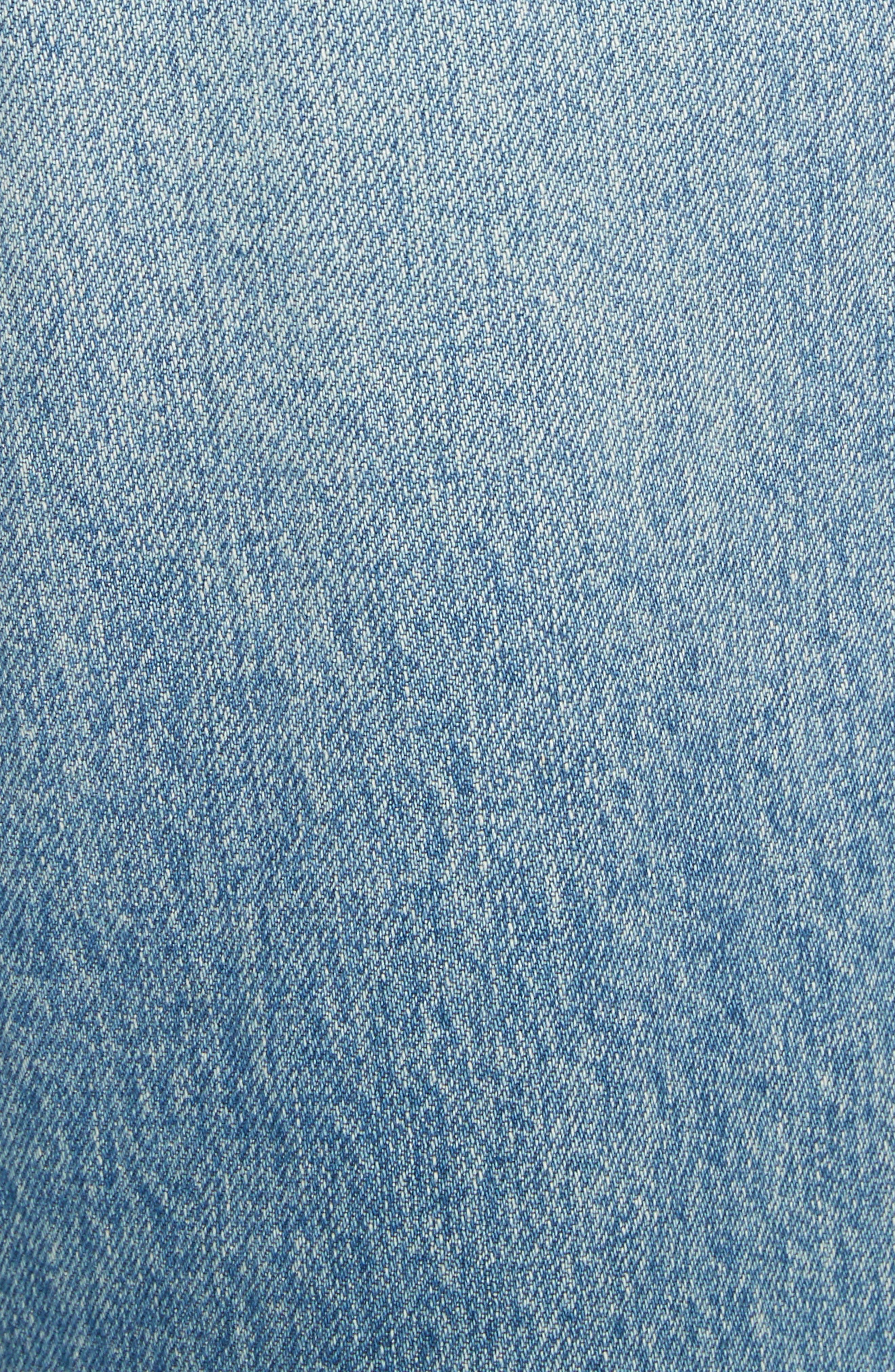 Shifted Zip Crop Wide Leg Jeans,                             Alternate thumbnail 5, color,                             Blue