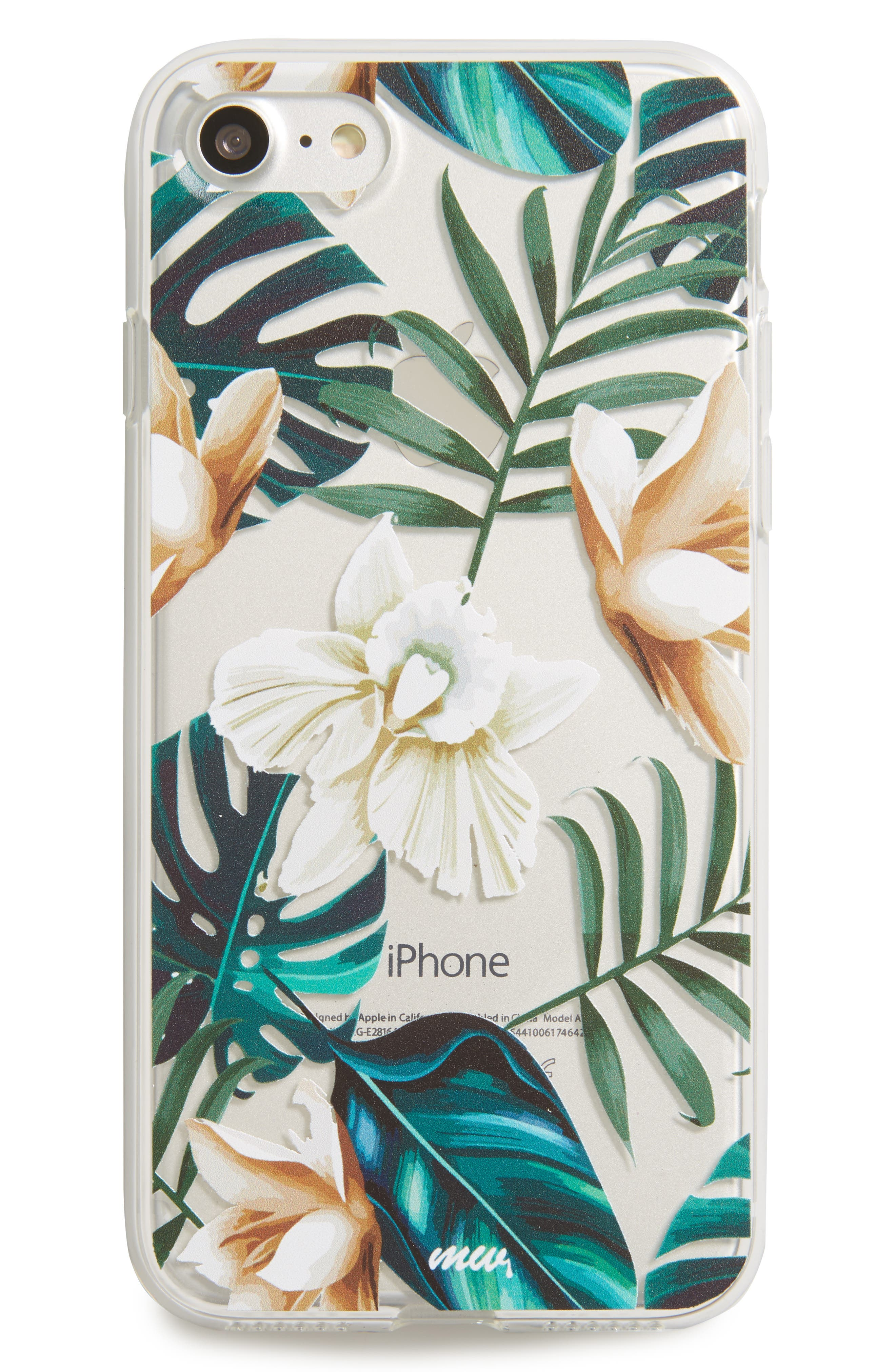 Floral iPhone 7 Case,                             Main thumbnail 1, color,                             Clear/ Green