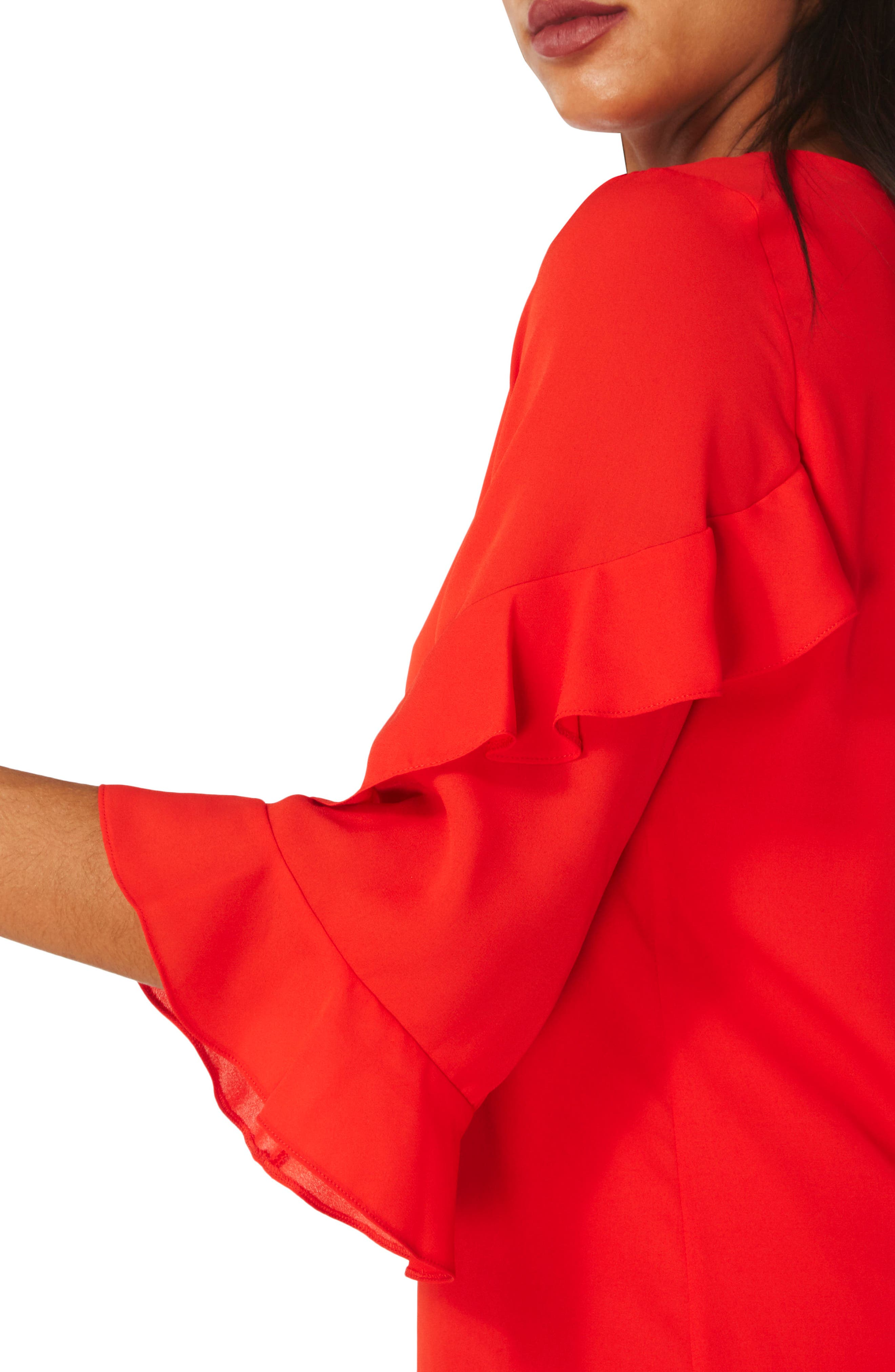Ruffle Bell Sleeve Shift Dress,                             Alternate thumbnail 4, color,                             Red
