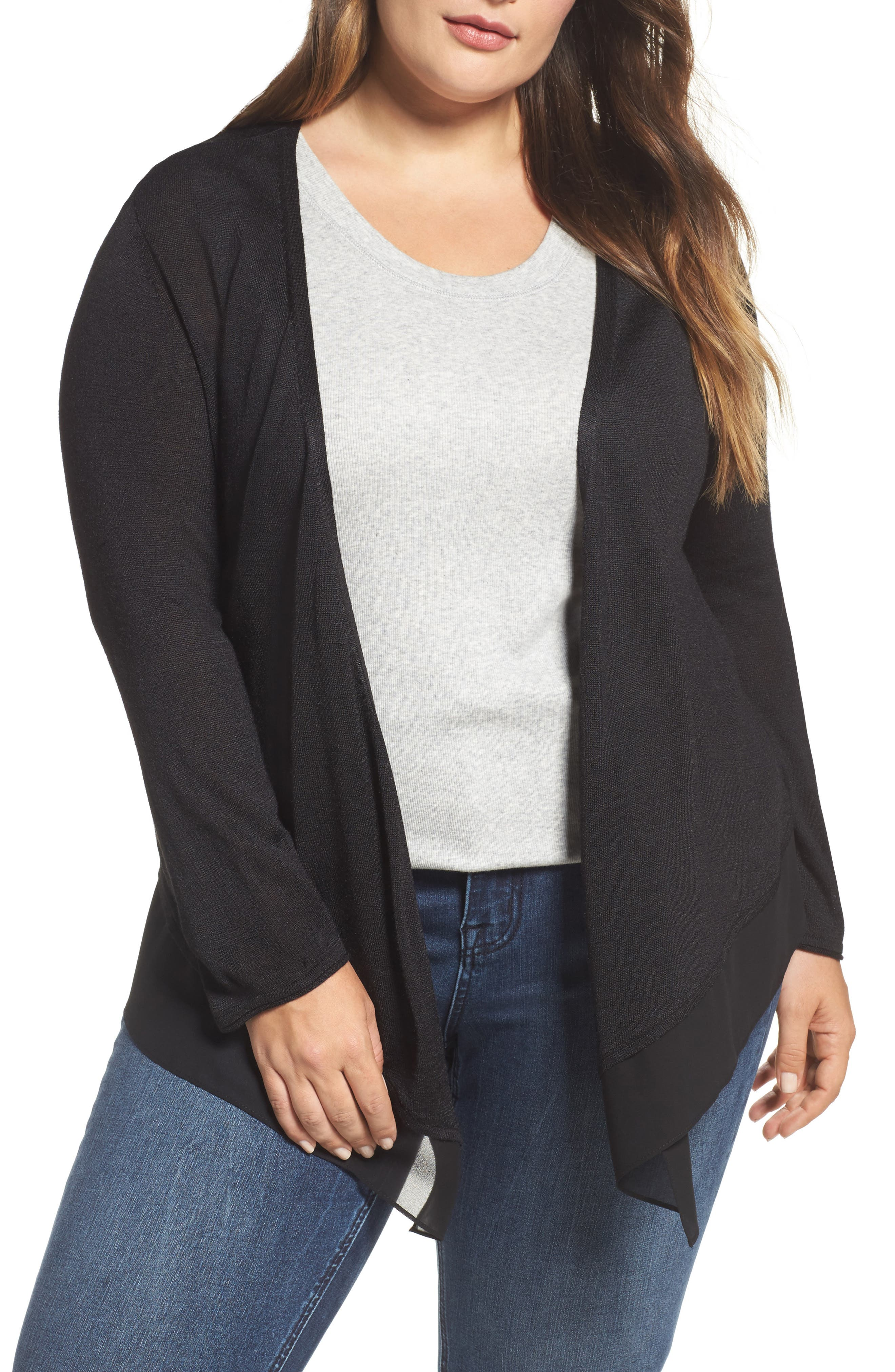 Paired Up Silk Blend Cardigan,                         Main,                         color, Black Onyx