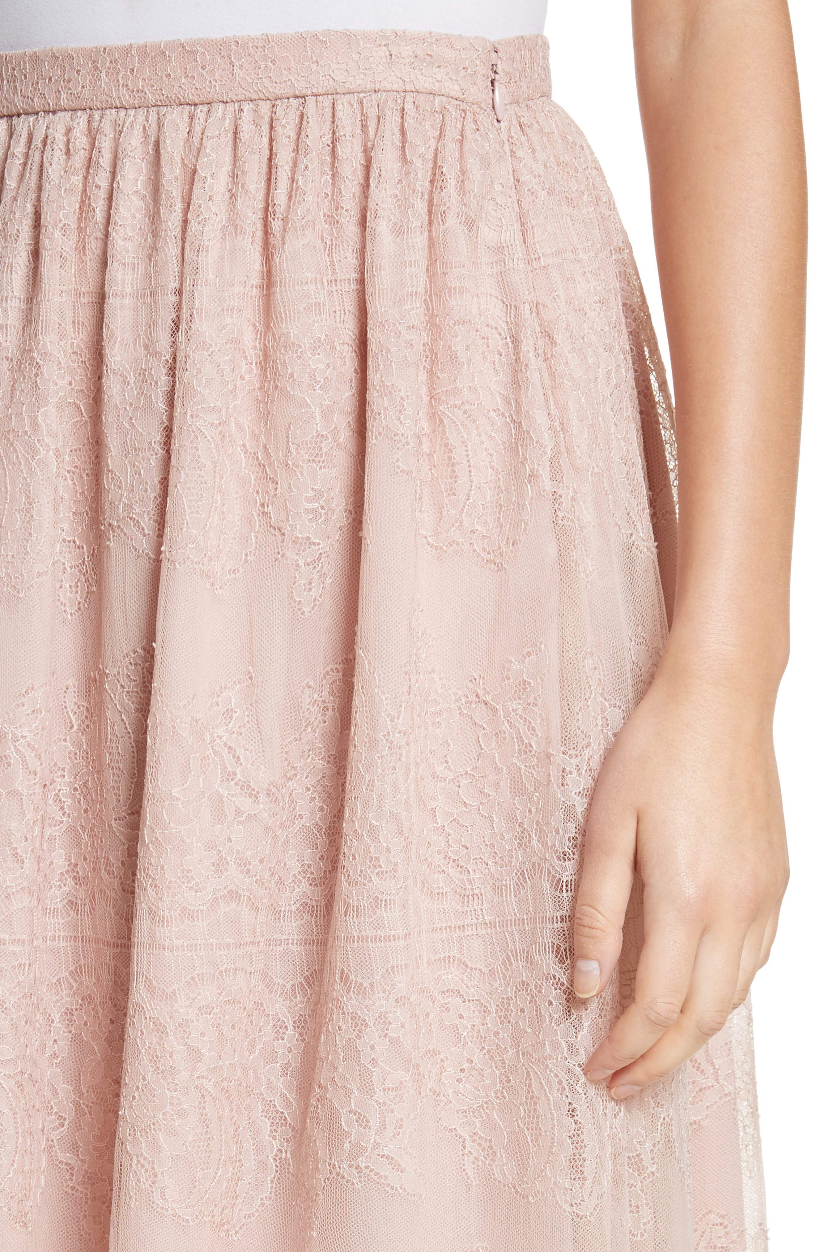 Chantilly Lace Gathered Skirt,                             Alternate thumbnail 4, color,                             Powder