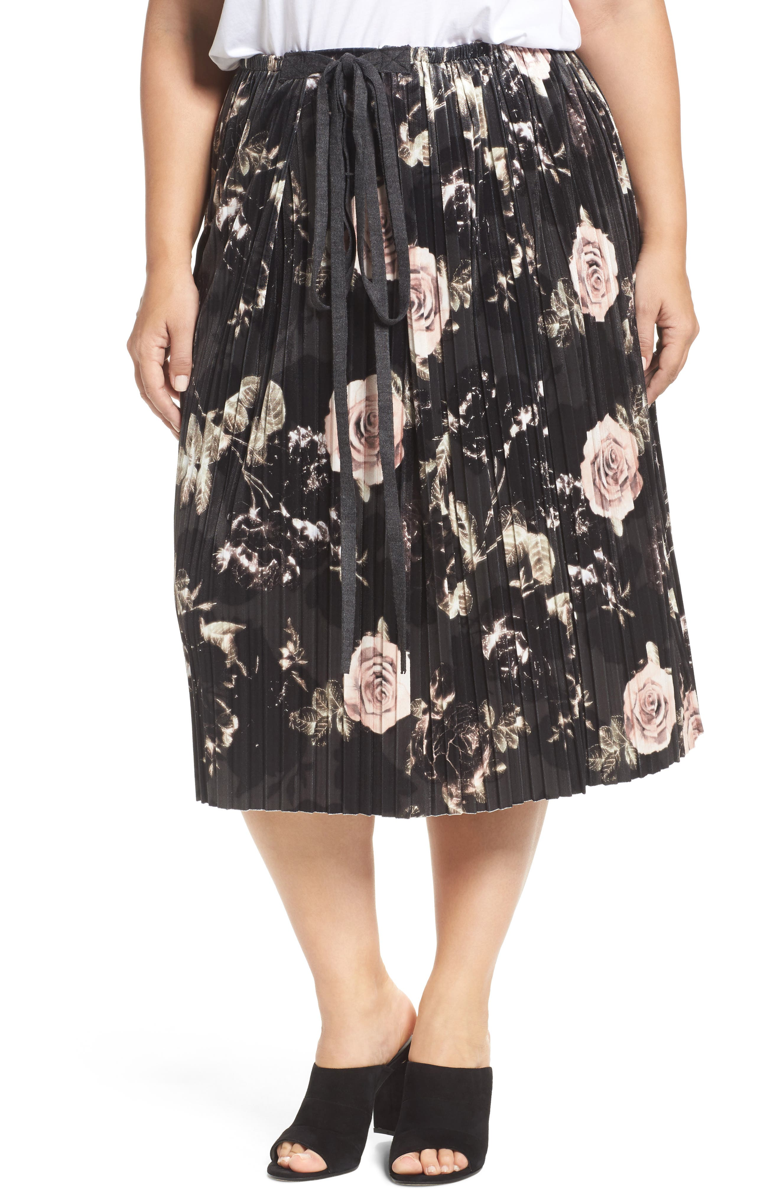 Main Image - ELVI Rose Print Pleated Velvet Pencil Skirt (Plus Size)