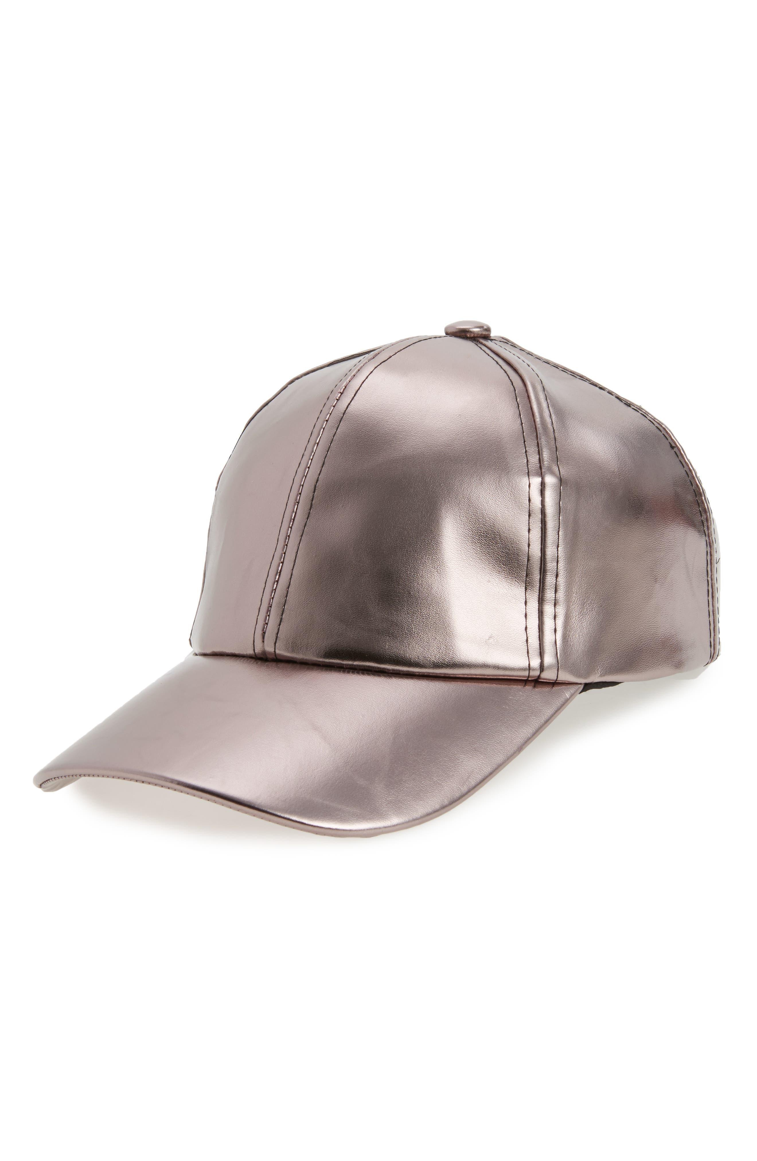 BP. Metallic Faux Leather Baseball Cap