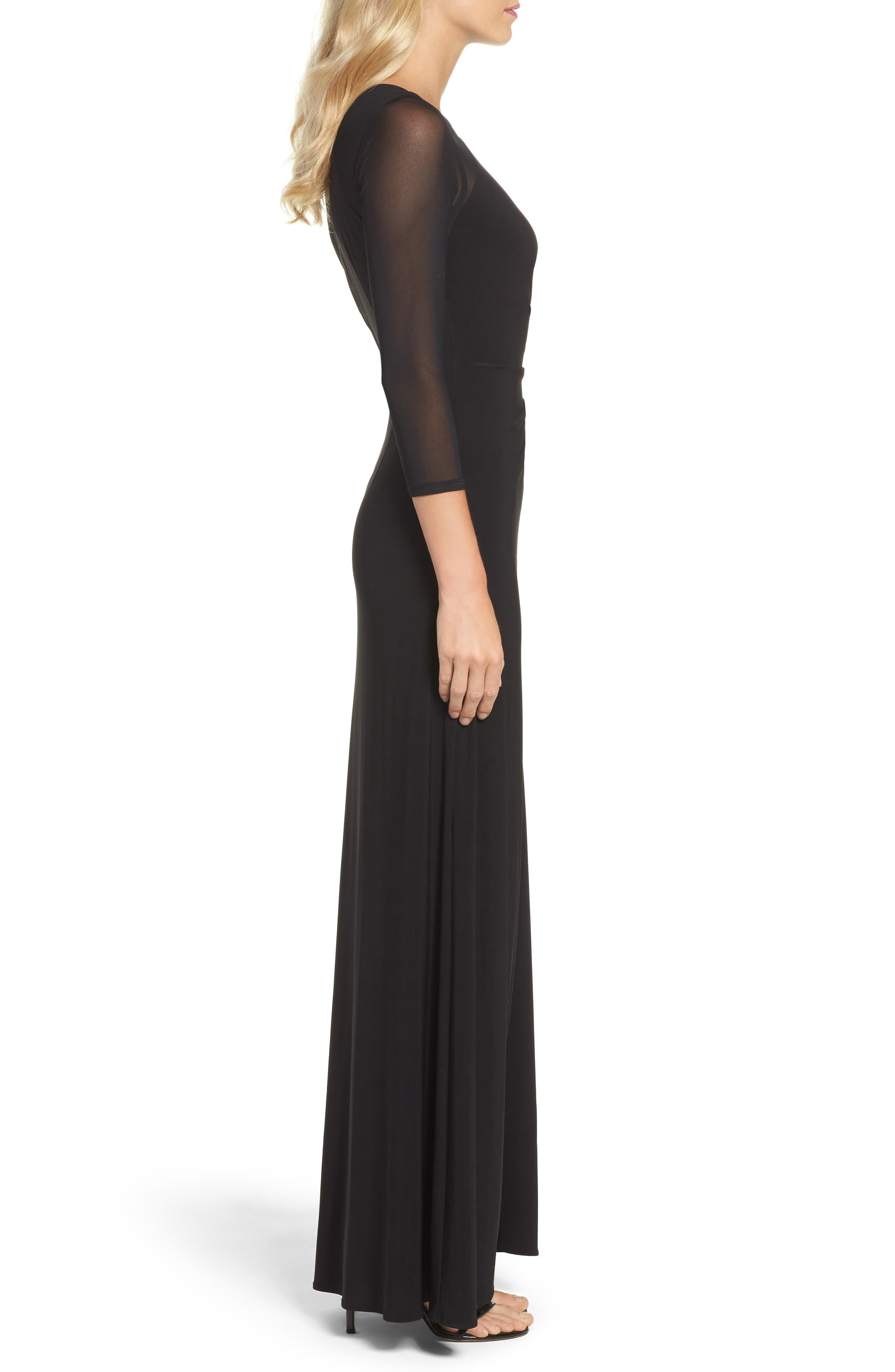 Illusion Jersey Gown,                             Alternate thumbnail 3, color,                             Black
