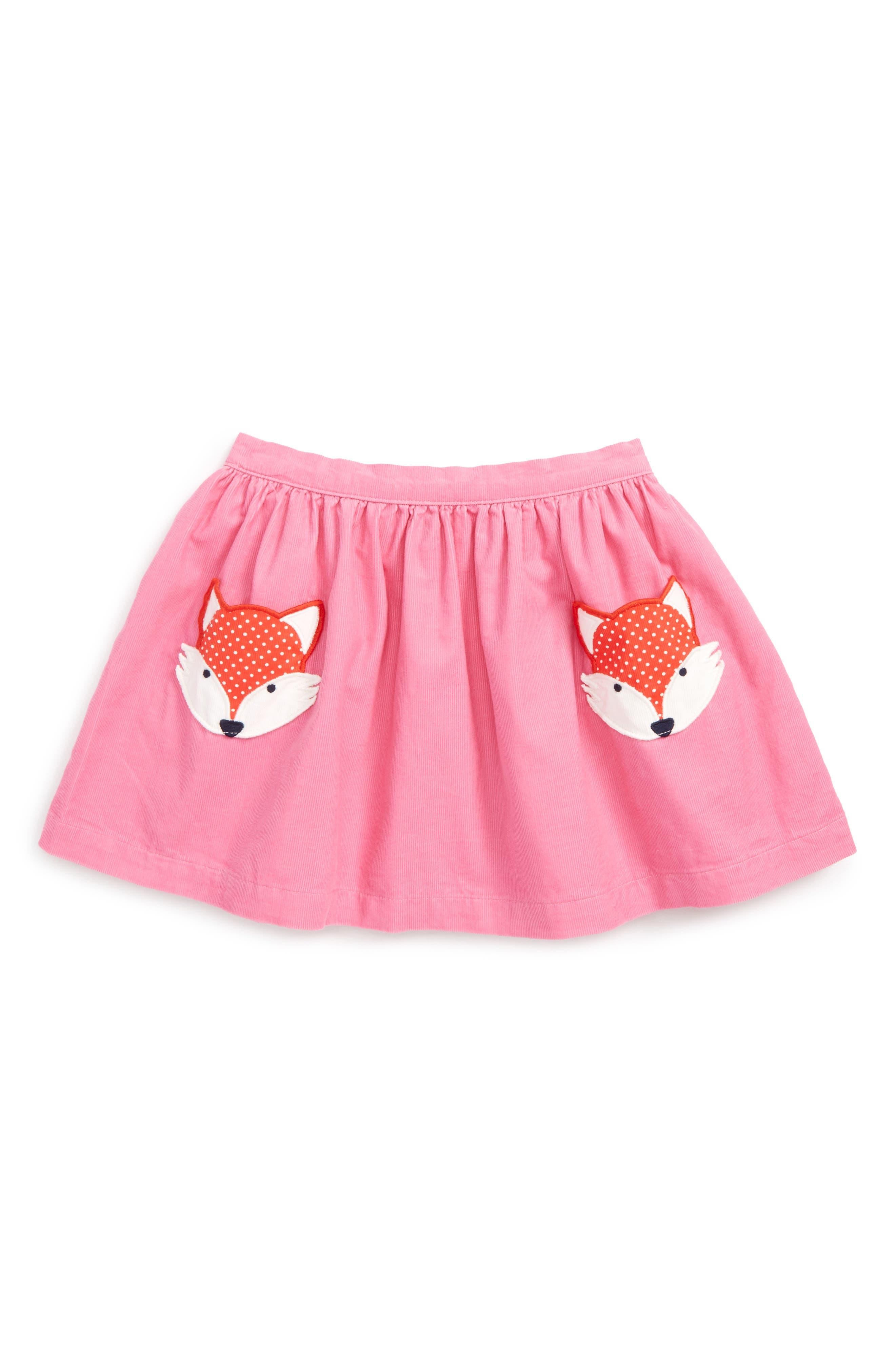 Alternate Image 1 Selected - Mini Boden Animal Pocket Corduroy Skirt (Toddler Girls, Little Girls & Big Girls)