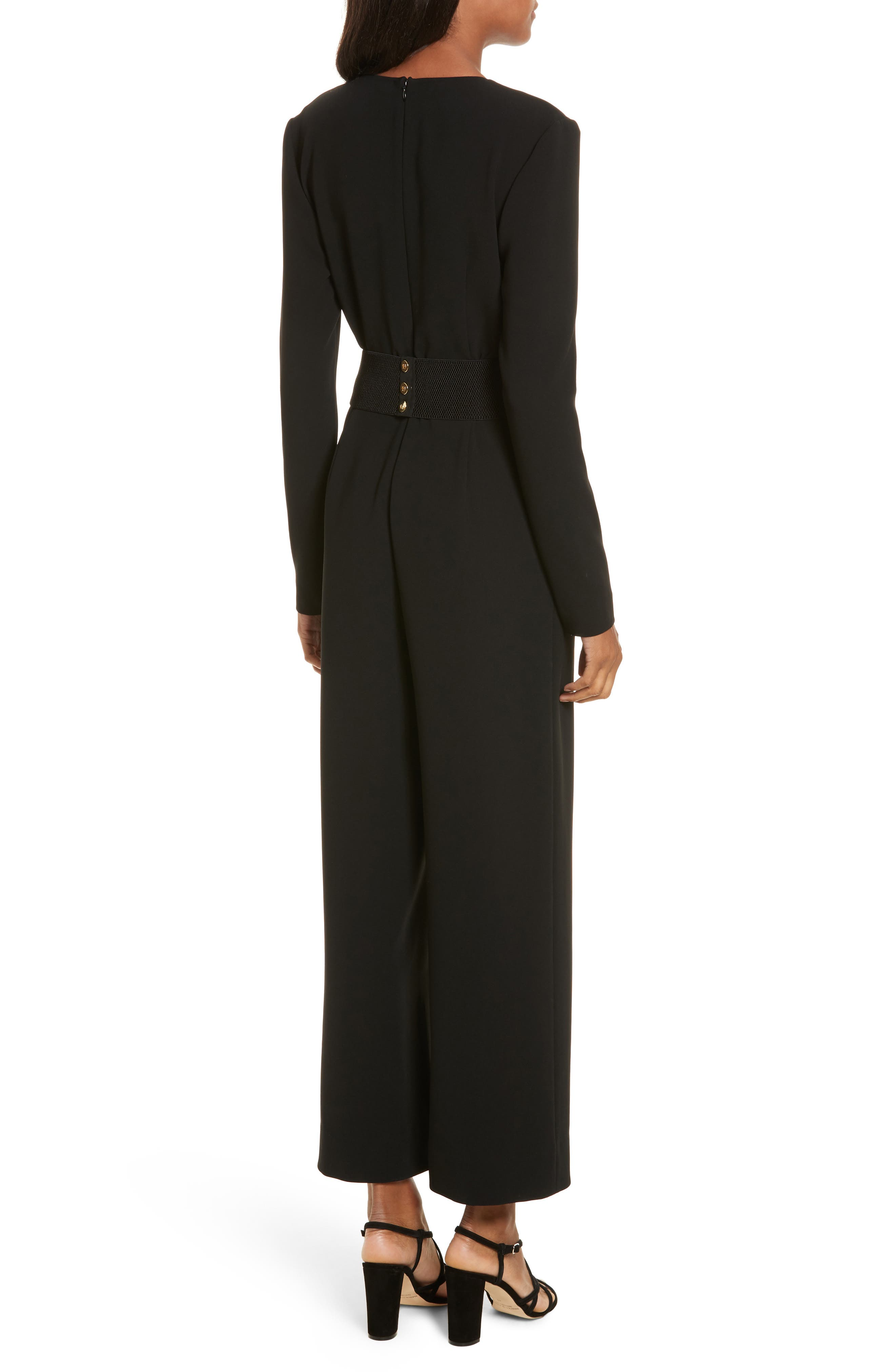 Surplice Jumpsuit,                             Alternate thumbnail 2, color,                             Black