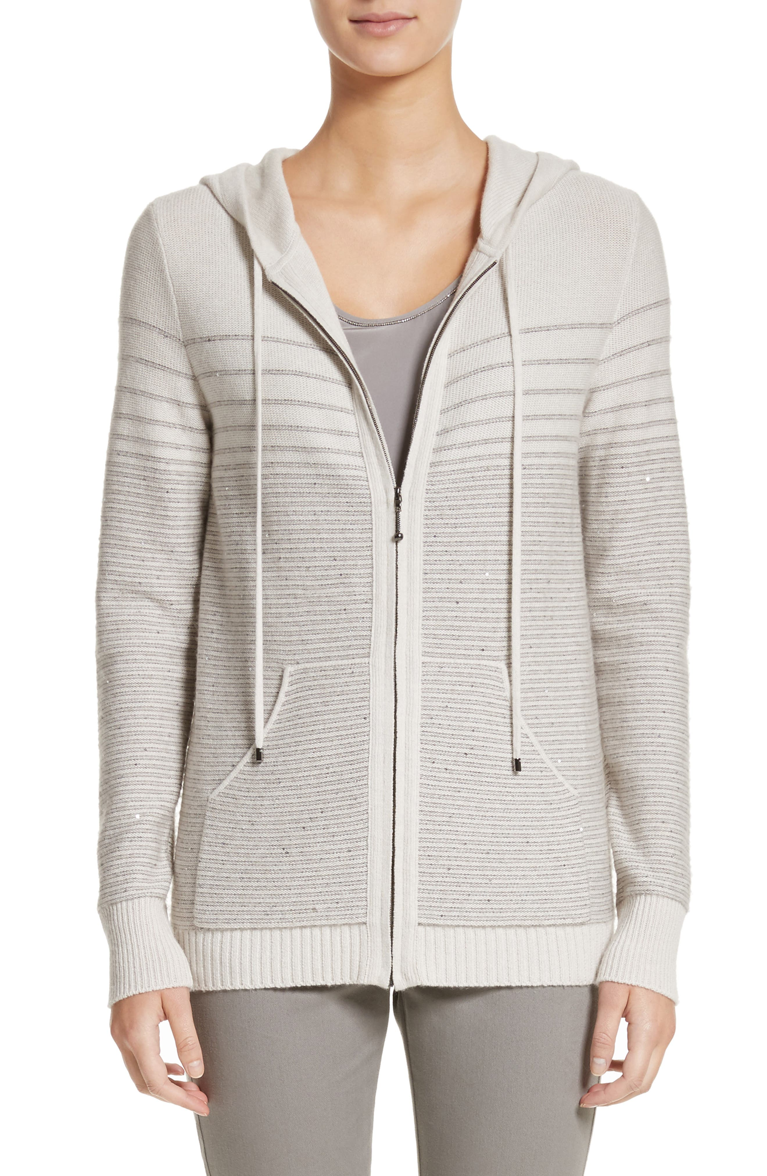 Main Image - St. John Collection Micro Sequined Textured Stitch Knit Hoodie