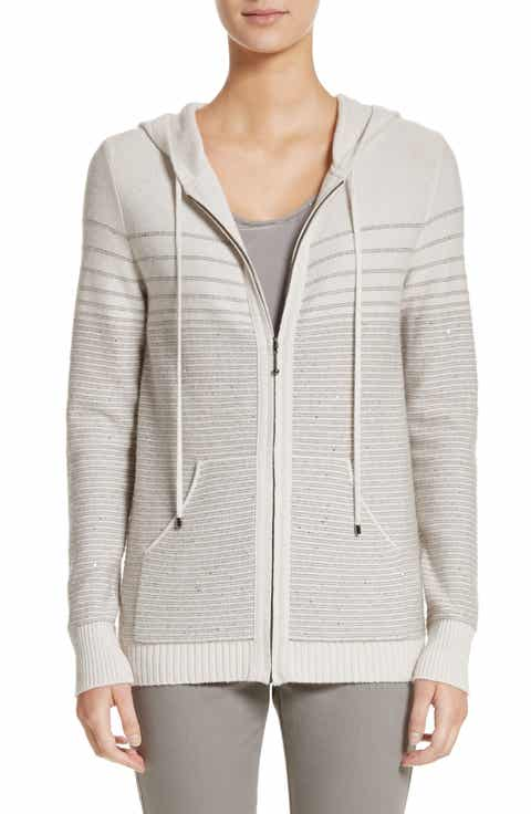 St. John Collection Micro Sequined Textured Stitch Knit Hoodie