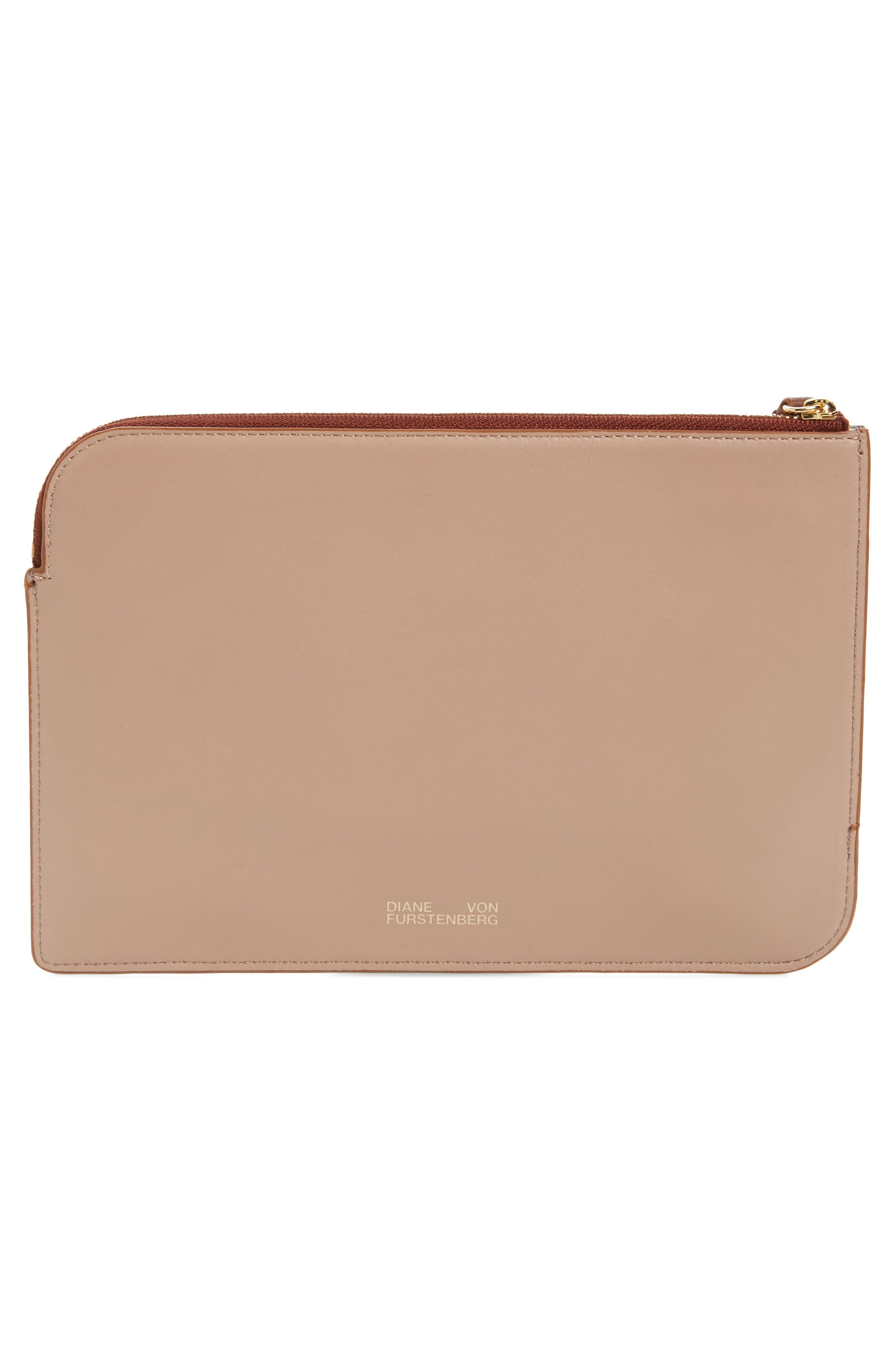 Medium Leather Zip Pouch,                             Alternate thumbnail 3, color,                             Powder Blue/ Dusty Pink