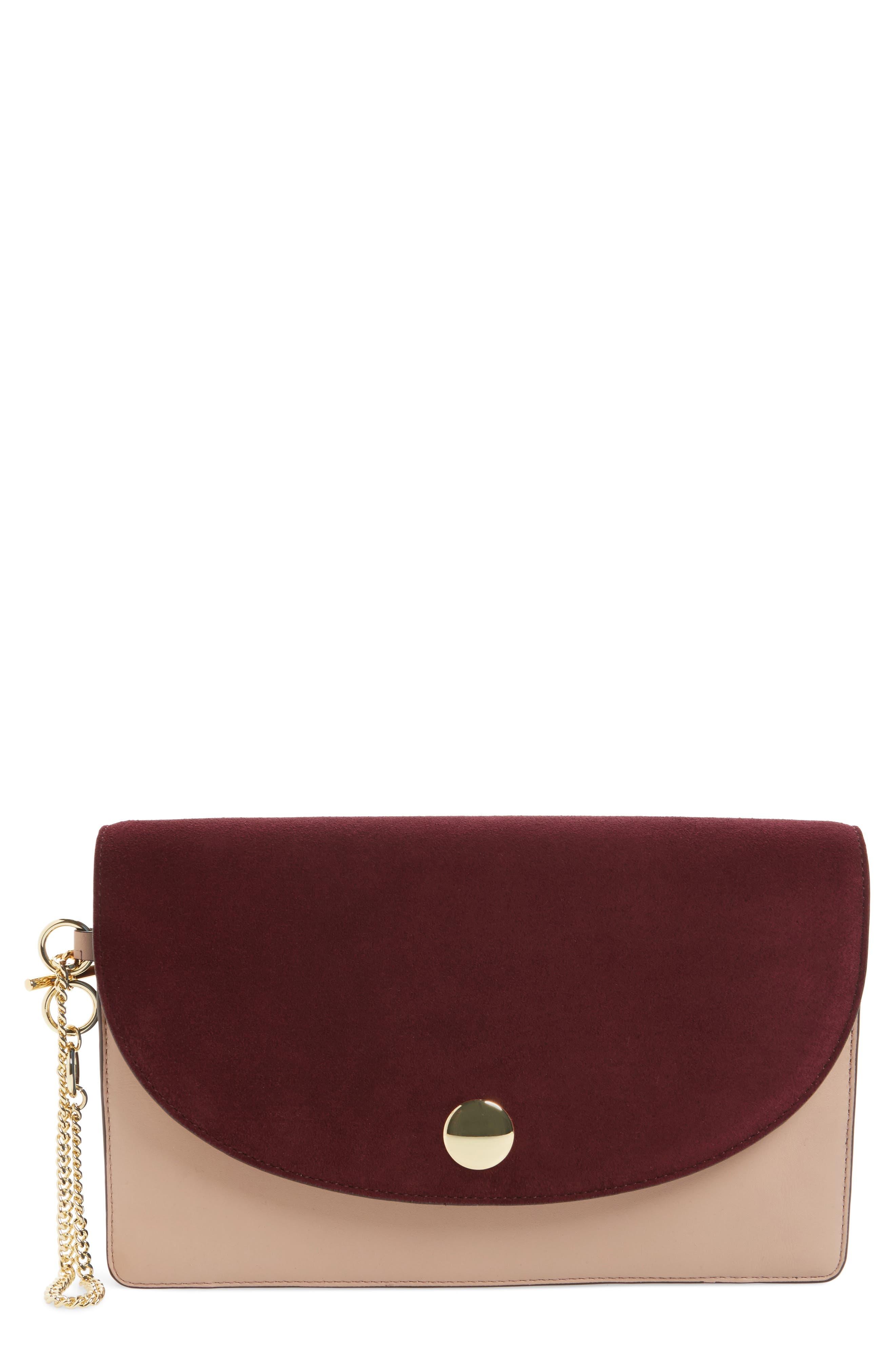 Convertible Leather Saddle Clutch,                             Main thumbnail 1, color,                             Bordeaux/ Dusty Pink