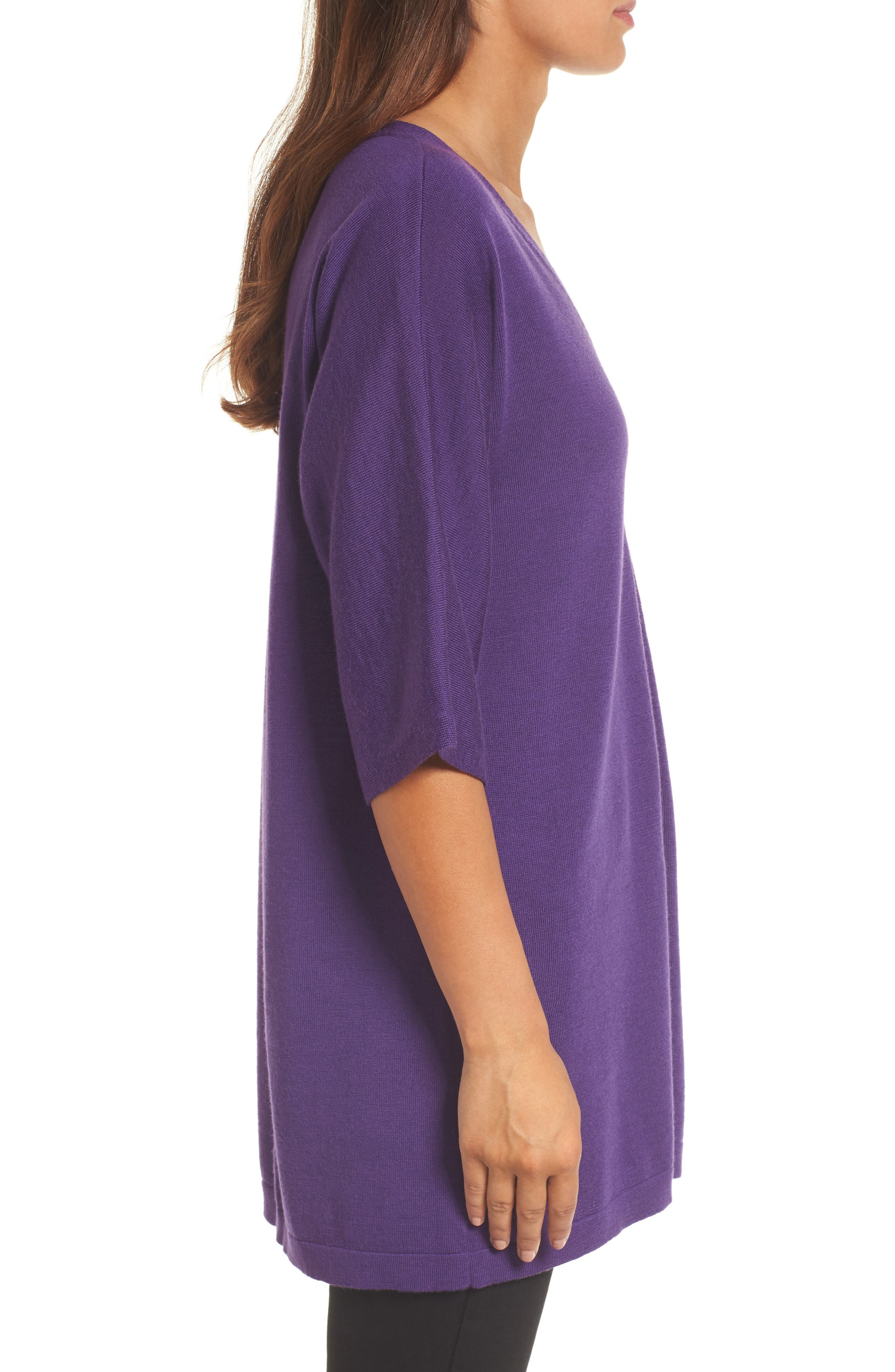 Merino Wool Tunic Sweater,                             Alternate thumbnail 3, color,                             Purple Rain
