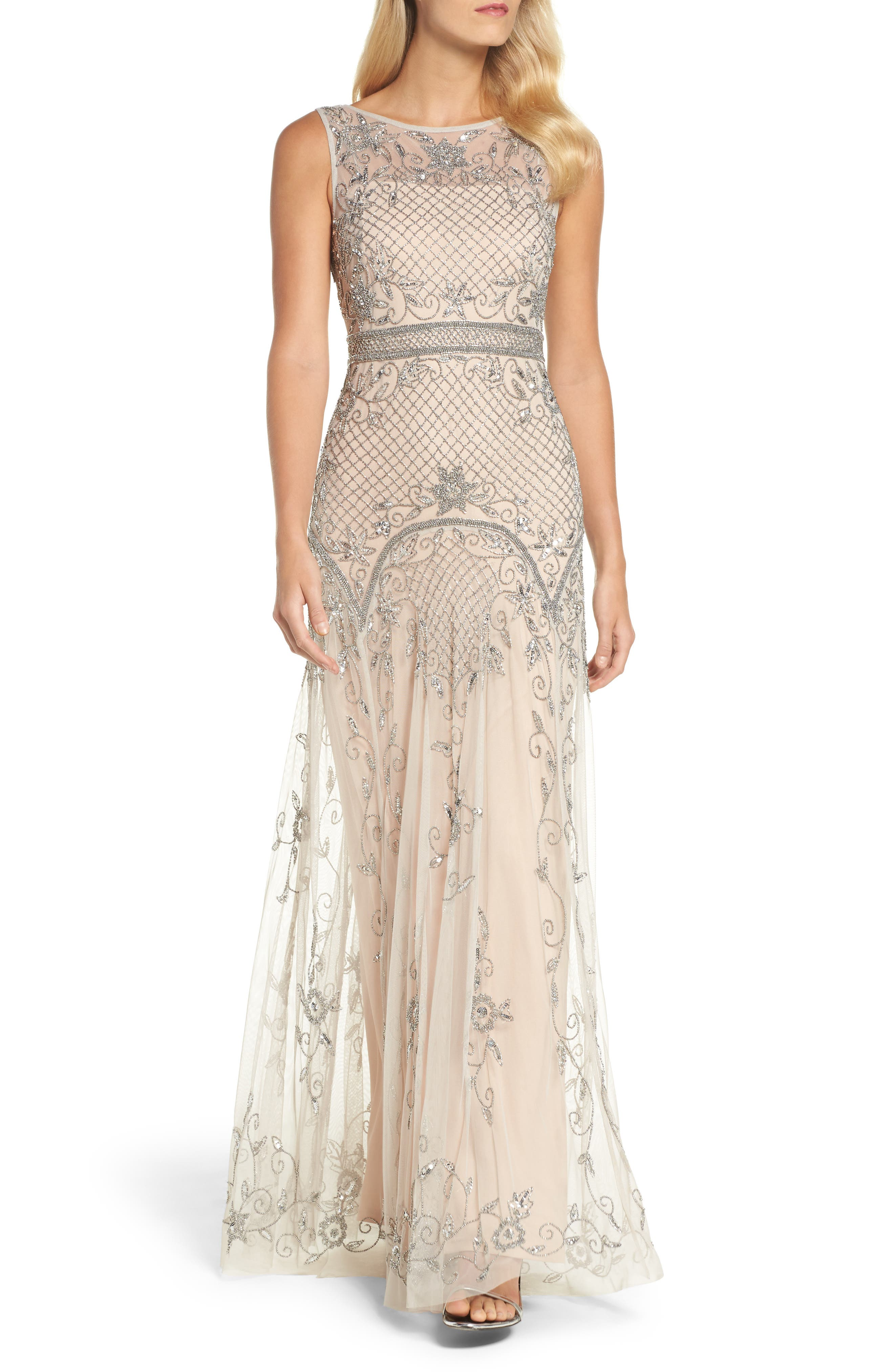 Beaded Illusion Column Gown,                         Main,                         color, Silver/ Nude