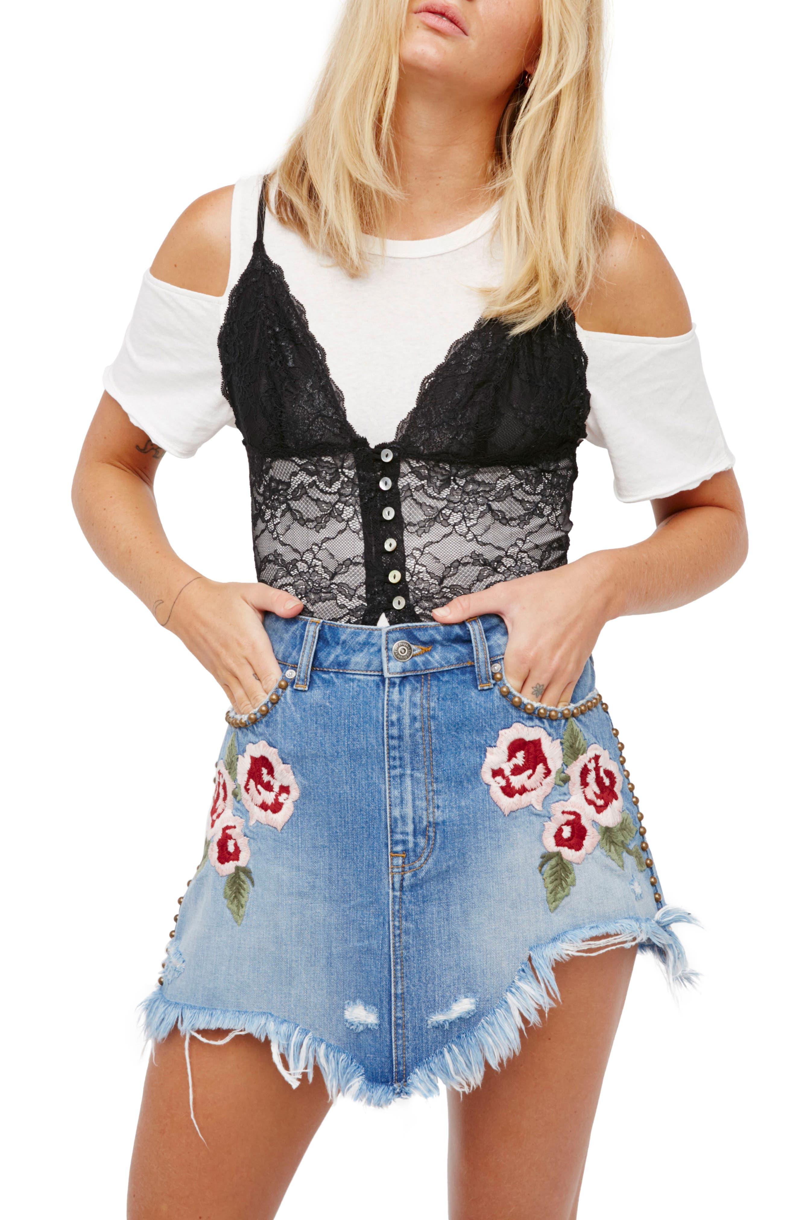 Wild Rose Embroidered Miniskirt,                         Main,                         color, Light Denim