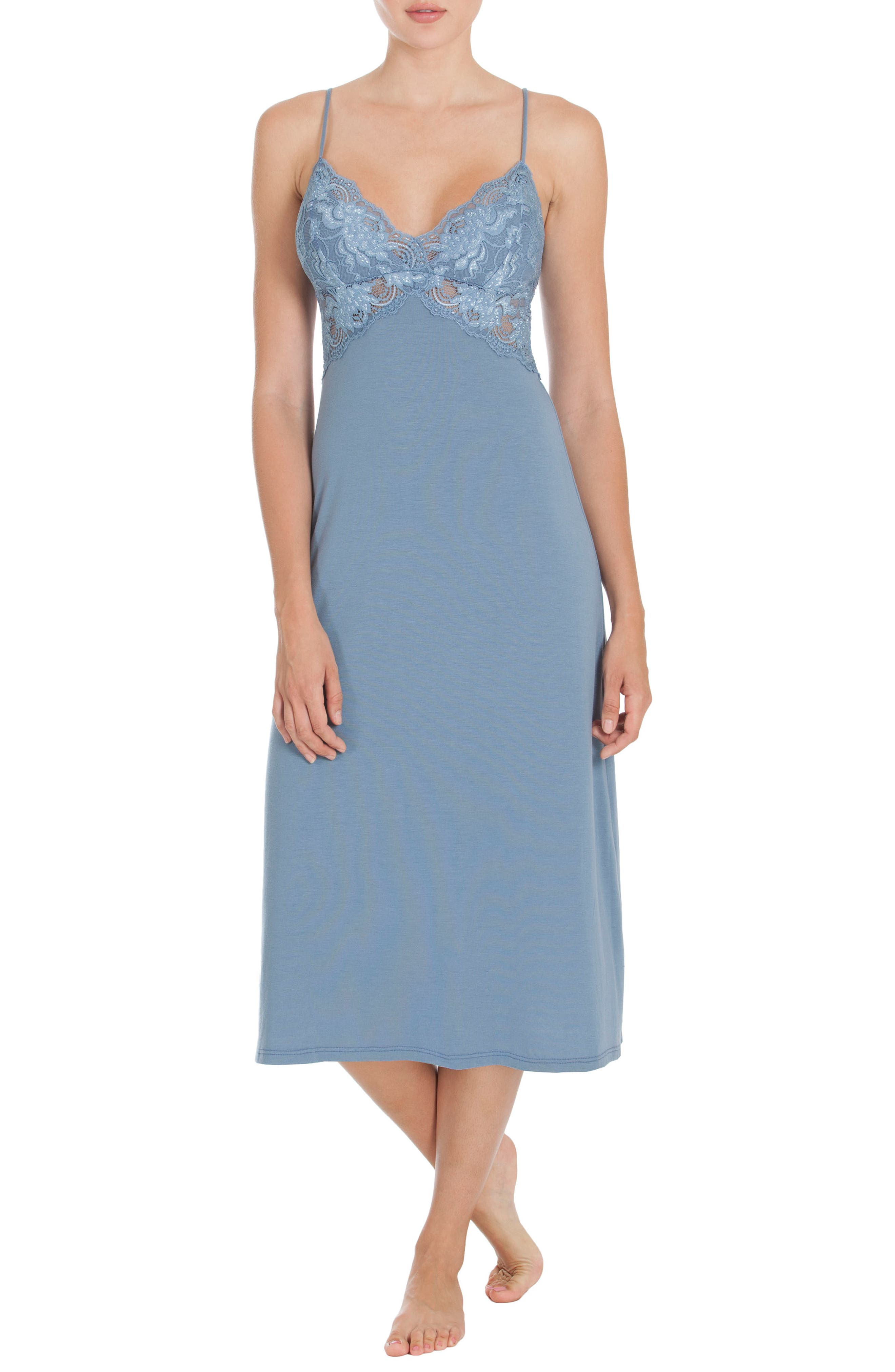 In Bloom by Jonquil Nightgown,                         Main,                         color, Steel Blue