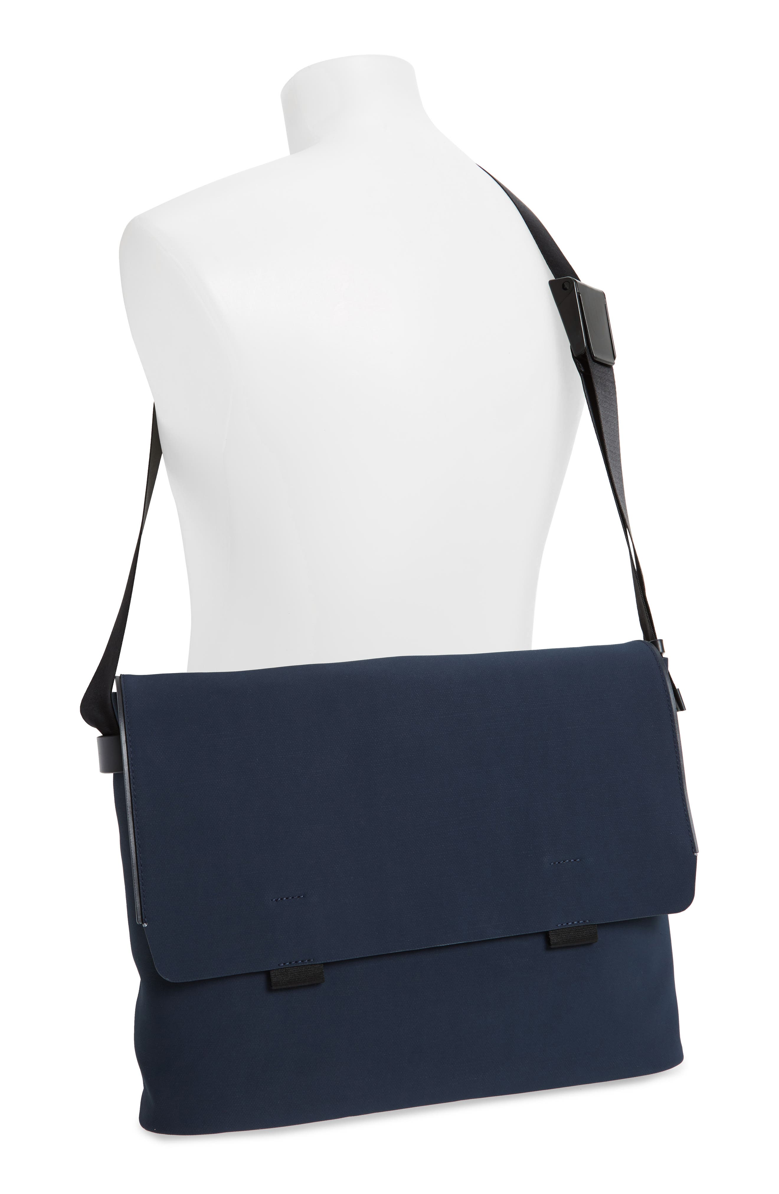 Canvas Messenger Bag,                             Alternate thumbnail 2, color,                             Navy Canvas/ Navy Leather