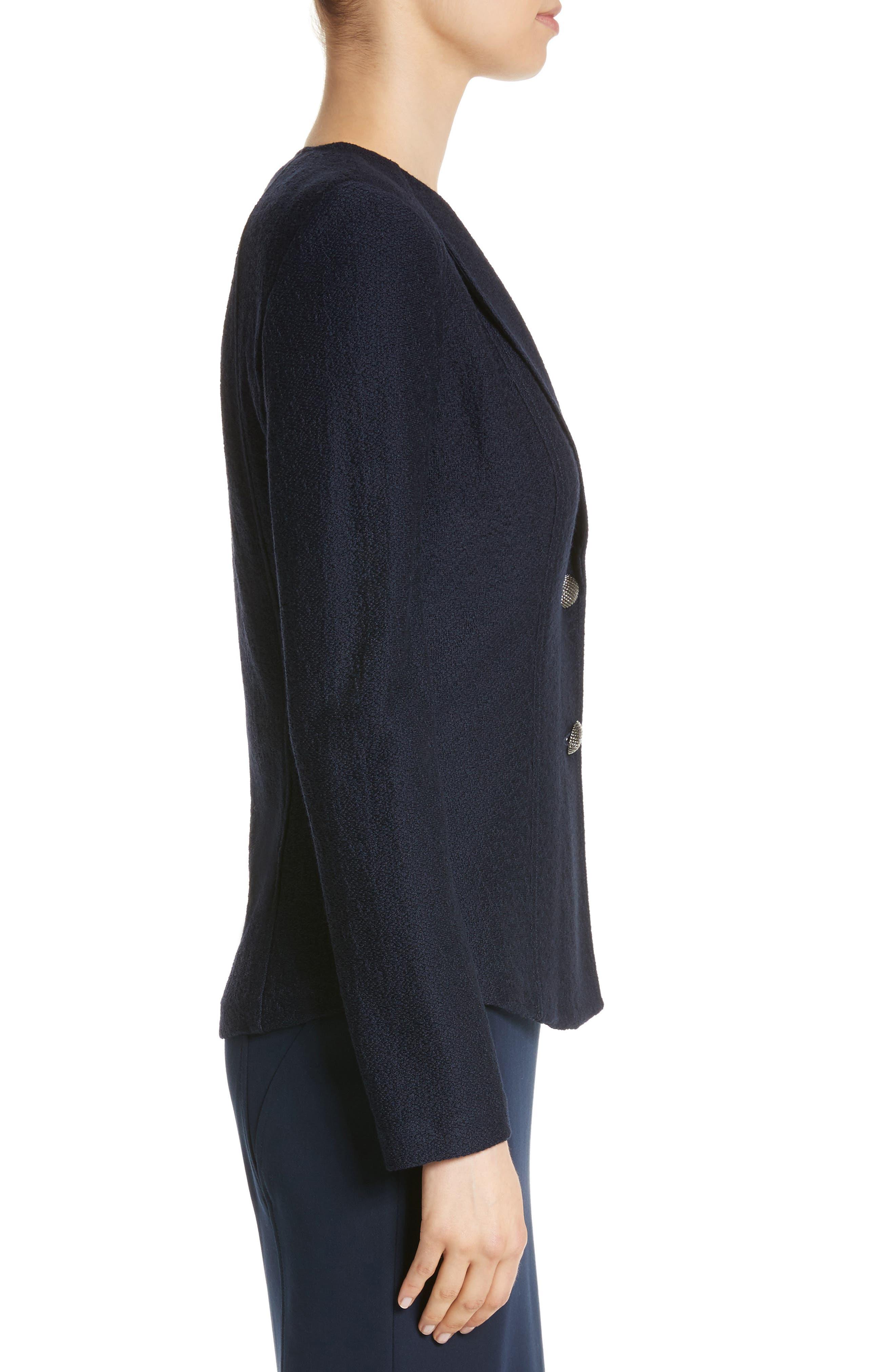 Hannah Knit Jacket,                             Alternate thumbnail 3, color,                             Navy