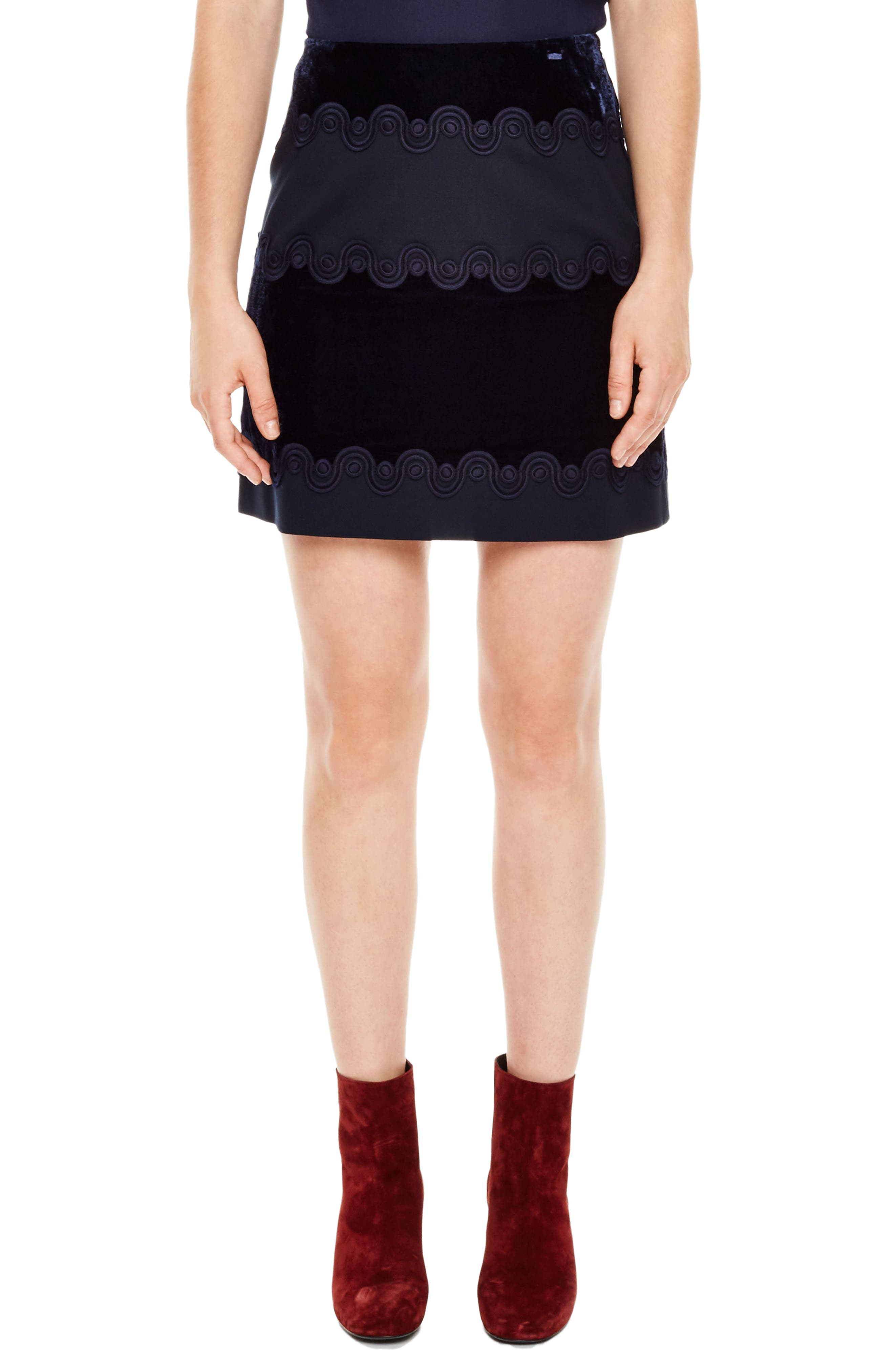 Wave Detail Velvet Skirt,                         Main,                         color, Navy