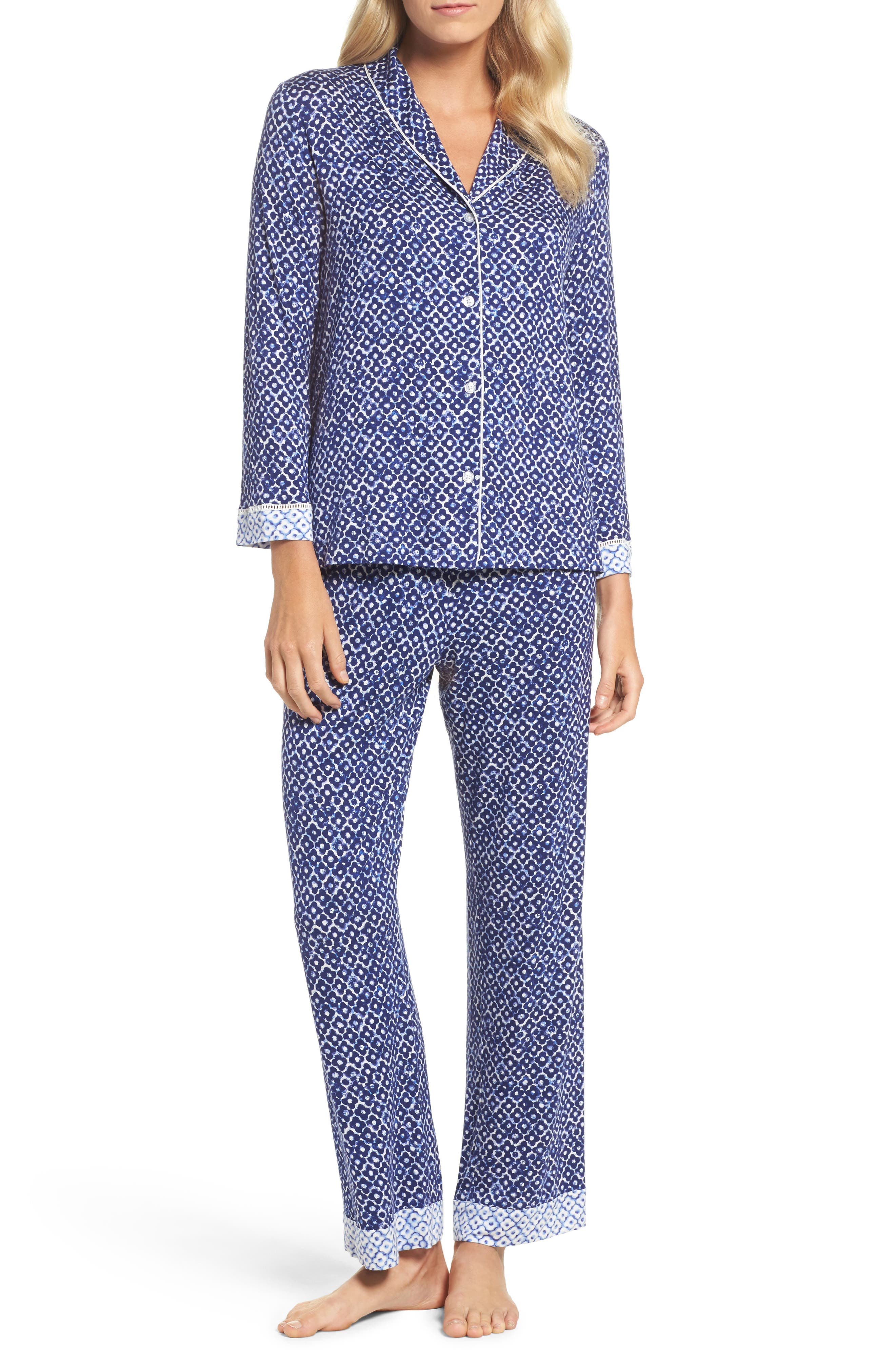 Sleepwear Pajamas,                             Main thumbnail 1, color,                             Navy Clover Geo Print