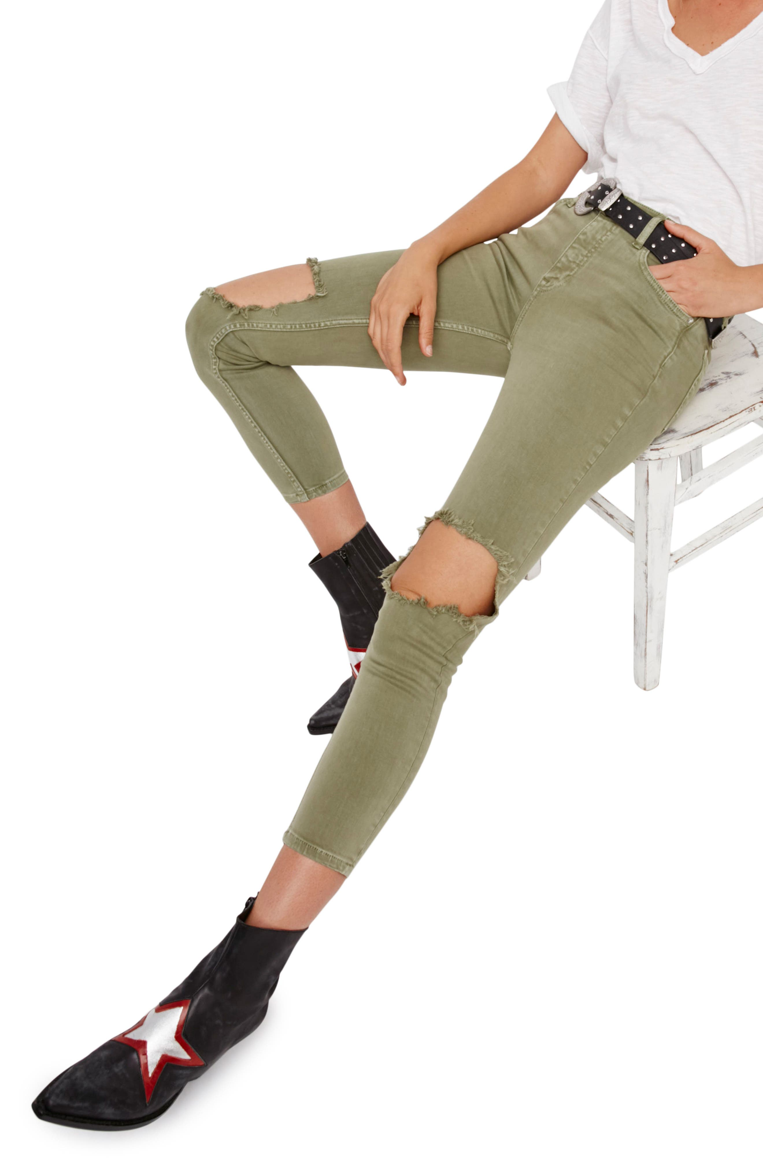 Main Image - Free People High Rise Busted Knee Skinny Jeans (Moss)
