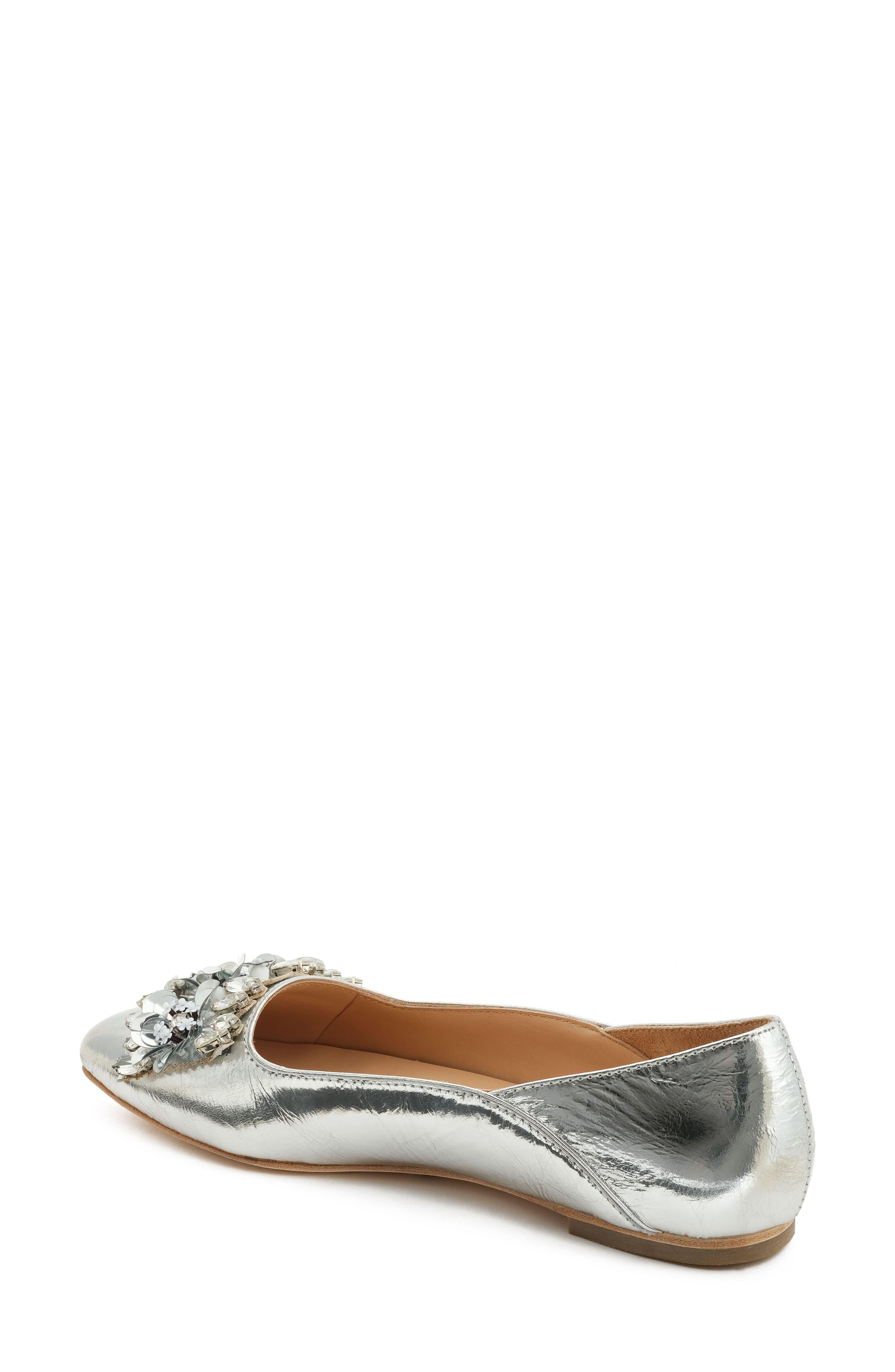 Aurey Embellished Ballet Flat,                             Alternate thumbnail 2, color,                             Silver Foil