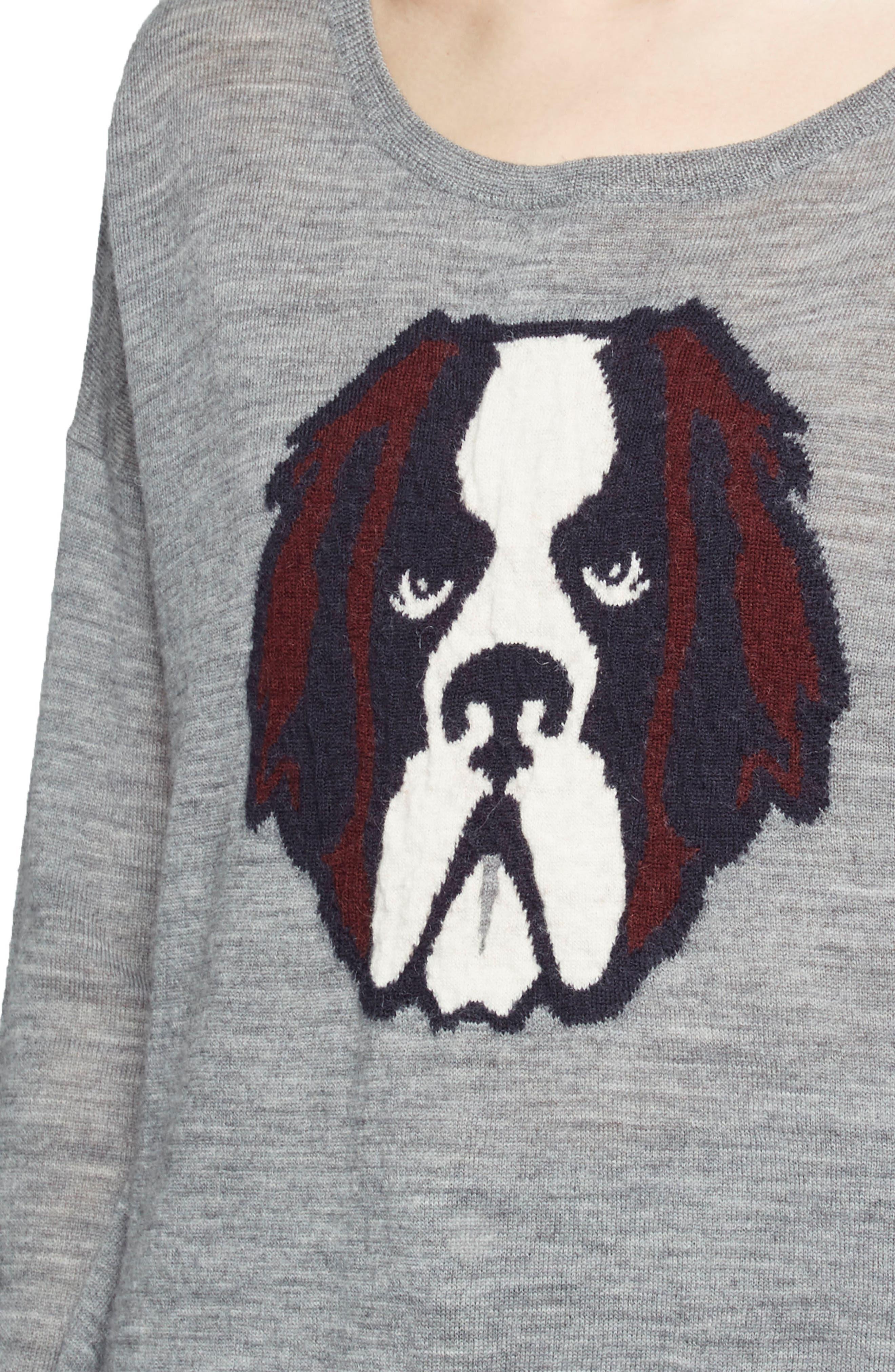 Otis Intarsia Sweater,                             Alternate thumbnail 4, color,                             Mid Grey Multi